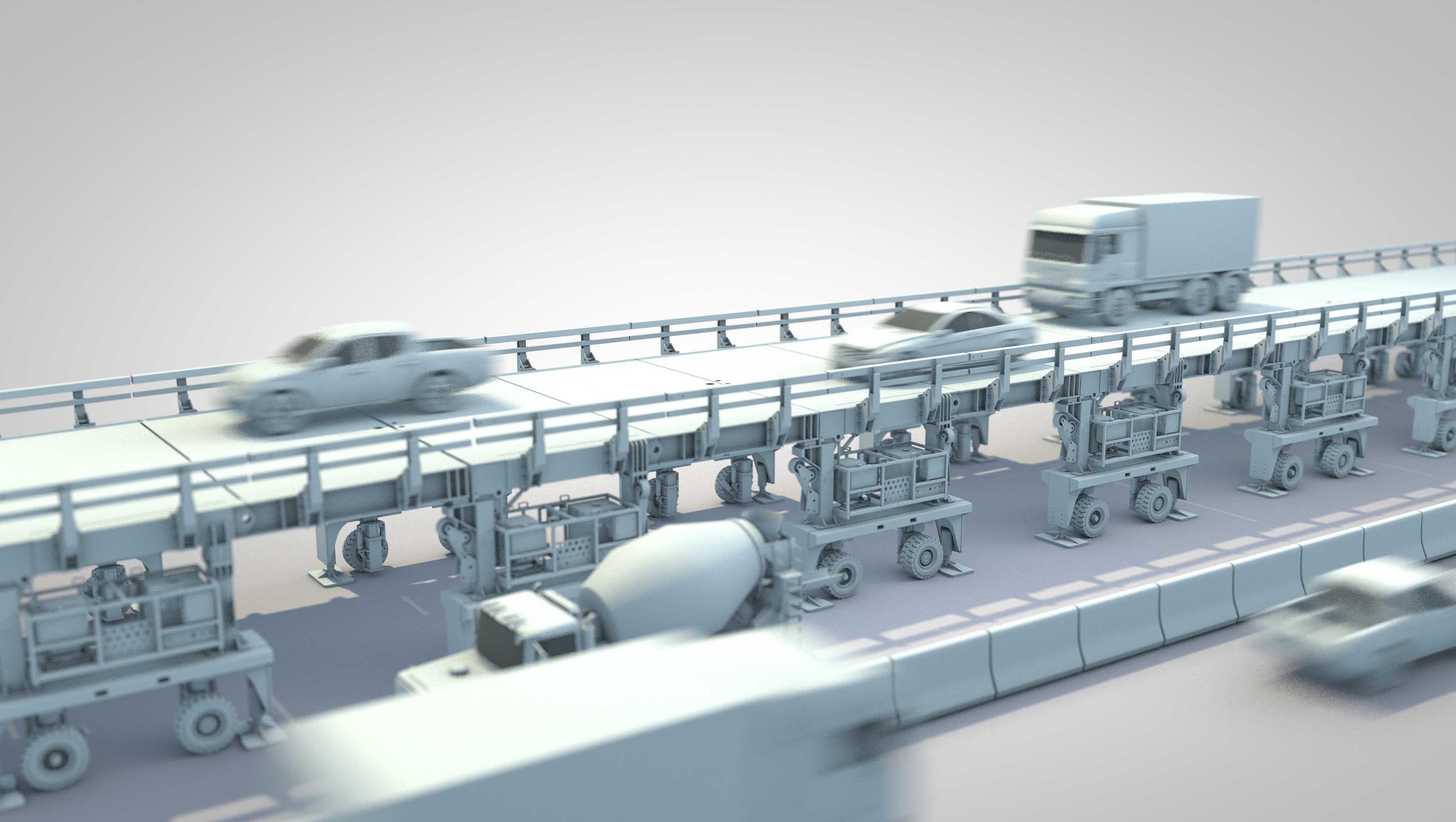 Visualisierung der Astra-Bridge für Autobahn-Baustellen