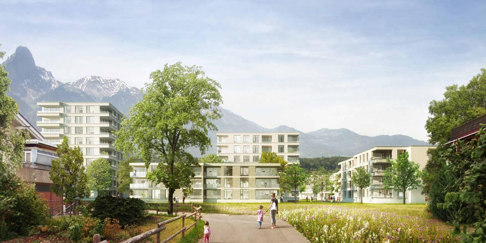Visualisierung Überbauung auf Areal Hoffmatte in Thun