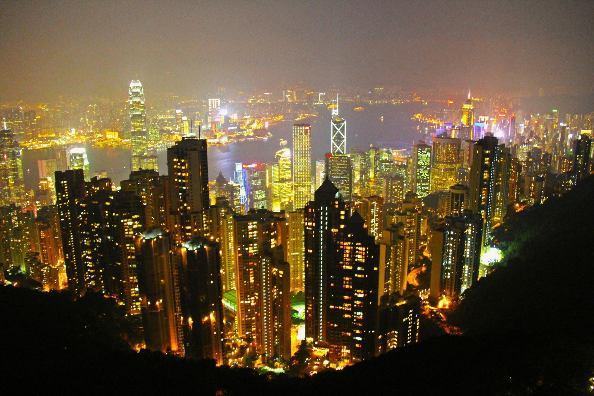 Hongkong Nacht Hochhäuser
