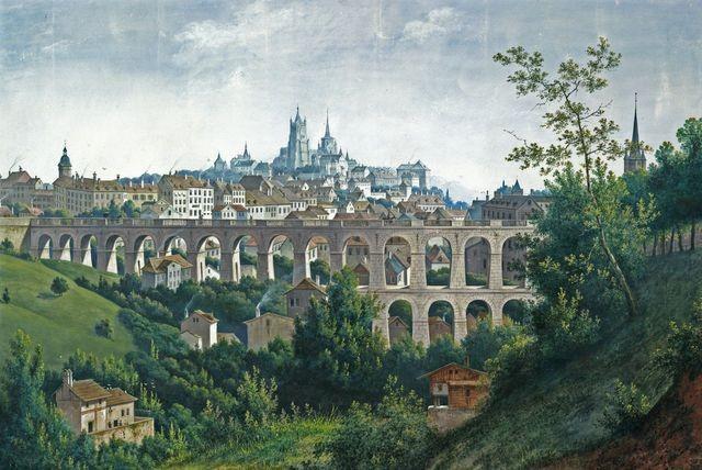 Tal des Flusses Flon und die Gran Pont Brücke um 1845