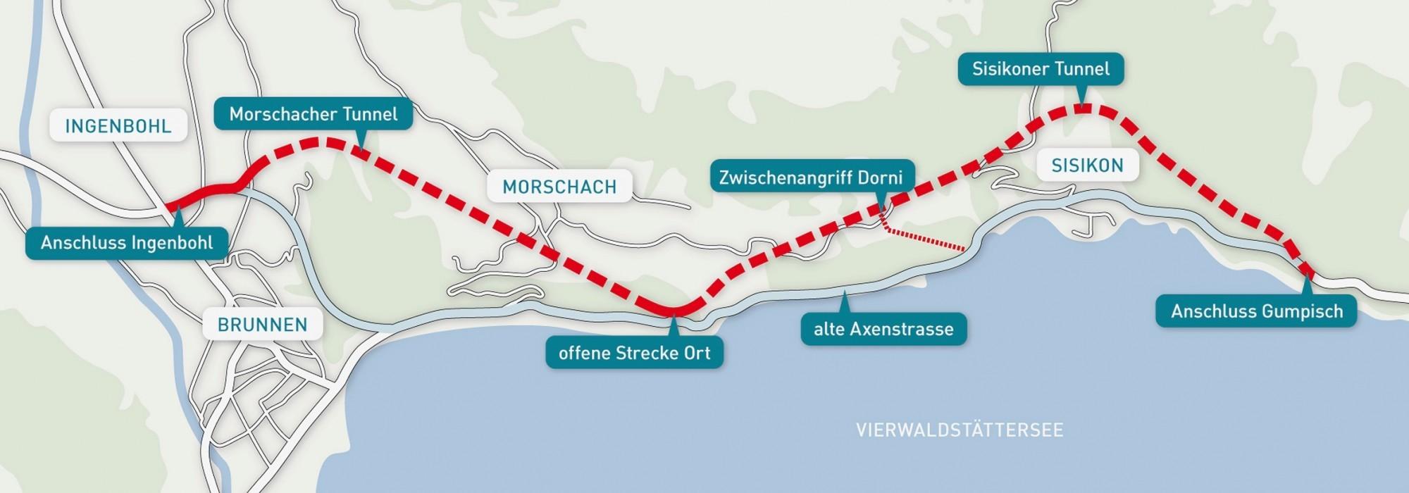 Axenstrasse, geplante Linienführung