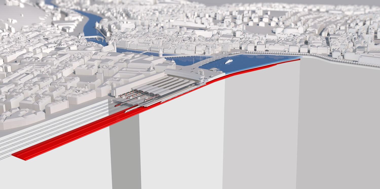 Visualisierung Draufsicht Durchgangsbahnhof Luzern