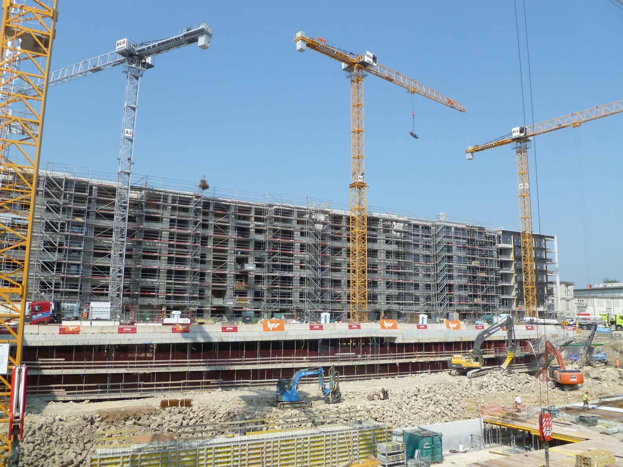 Blick auf Baustelle Papieri-Areal in Cham