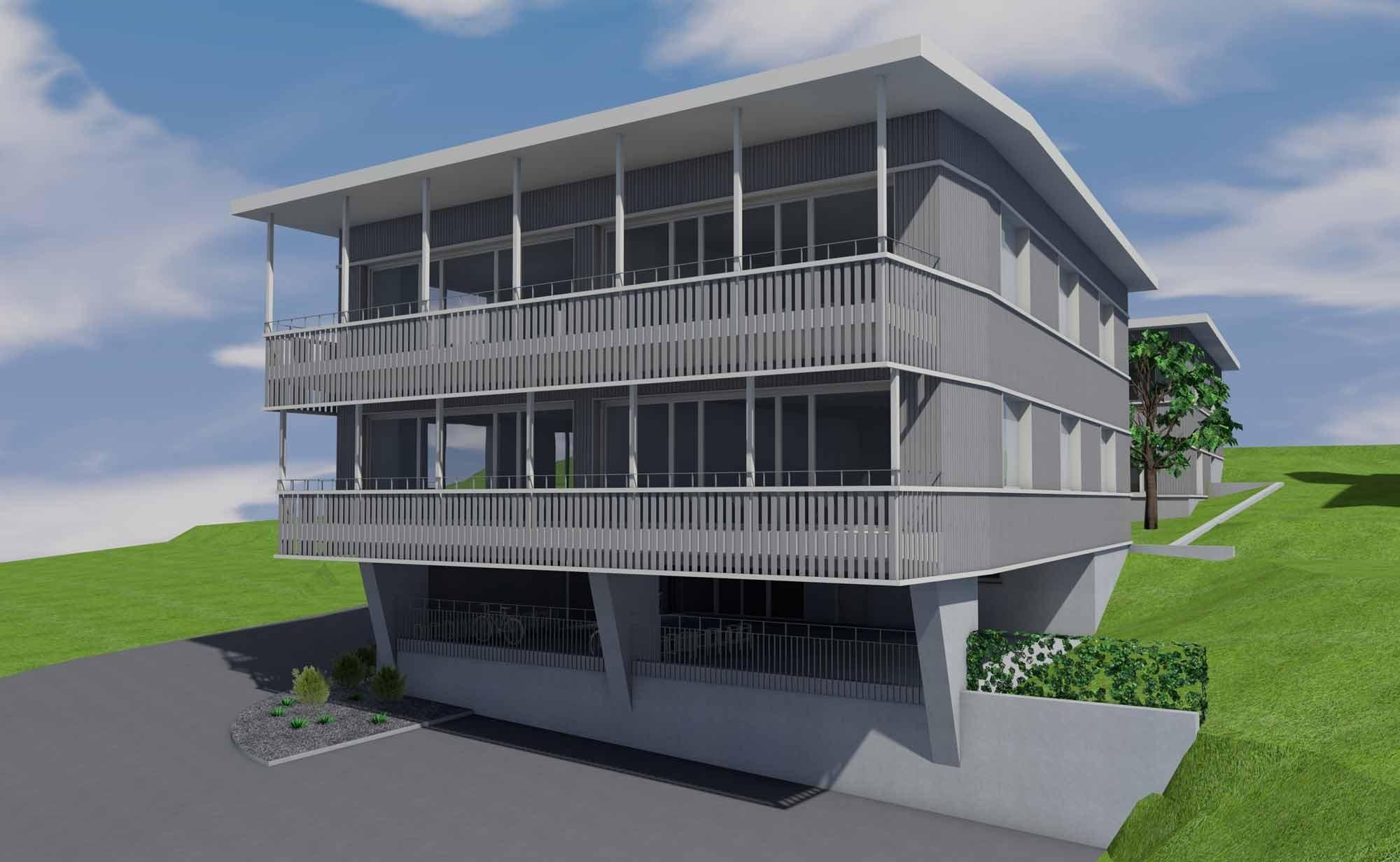 Visualisierung neuer Schulpavillon Berufsbildungszentrum Pfäffikon