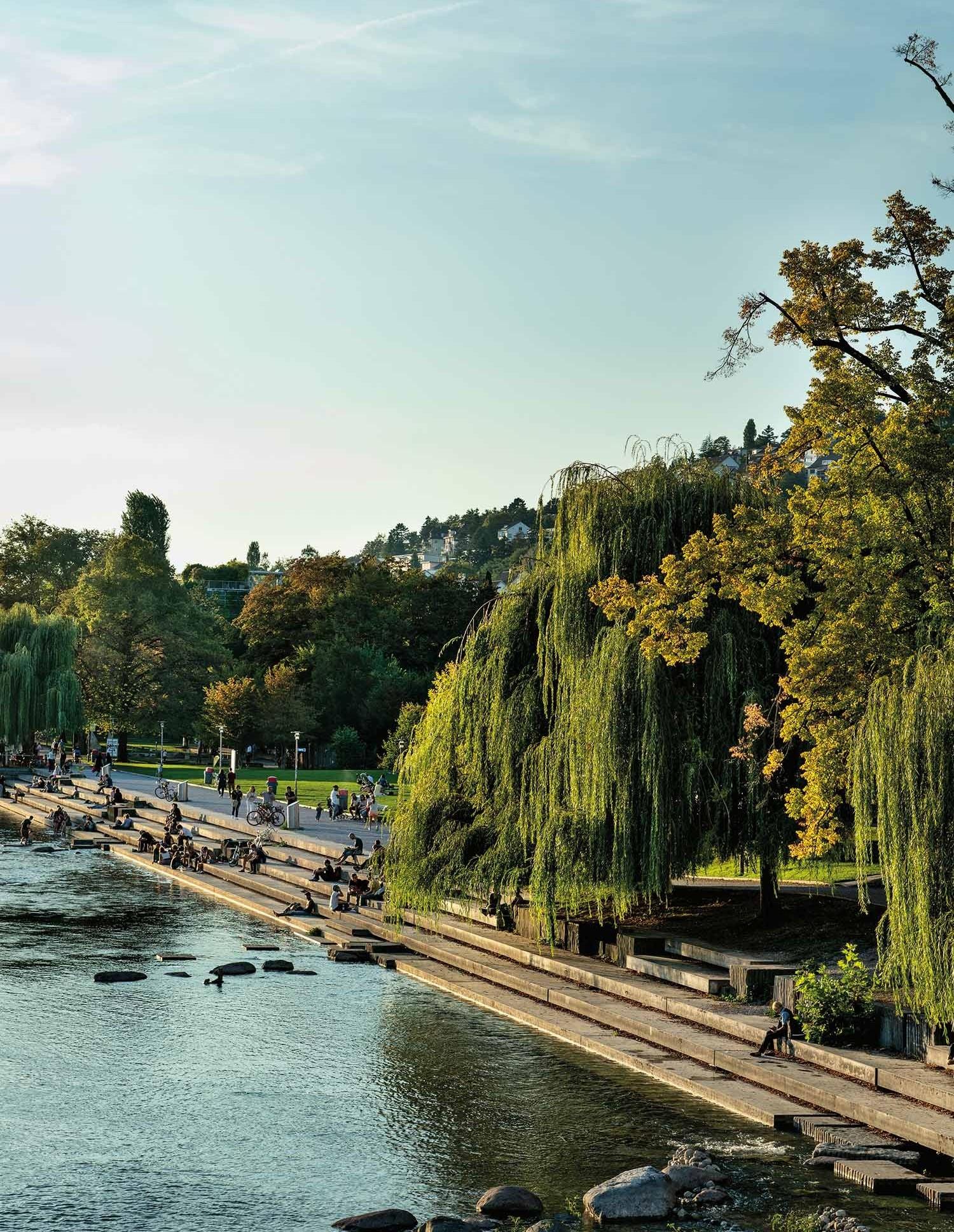 Wipkingerpark an der Limmat in Stadt Zürich
