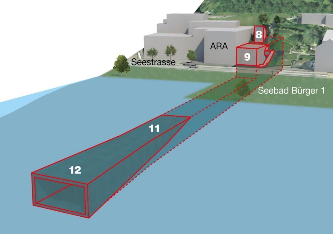 Visualisierung Hochwasserstollen Auslaufbauwerk in Thalwil