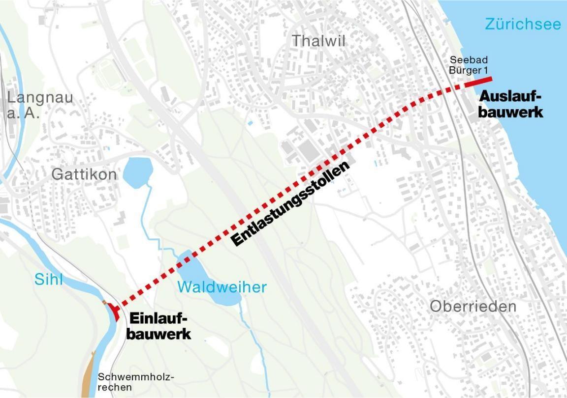 Grafik Entlastungsstollen von Langnau am Albis nach Thalwil