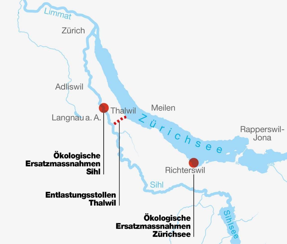 Grafik Entlastungsstollen Thalwil und ökologische Ersatzmassnahmen