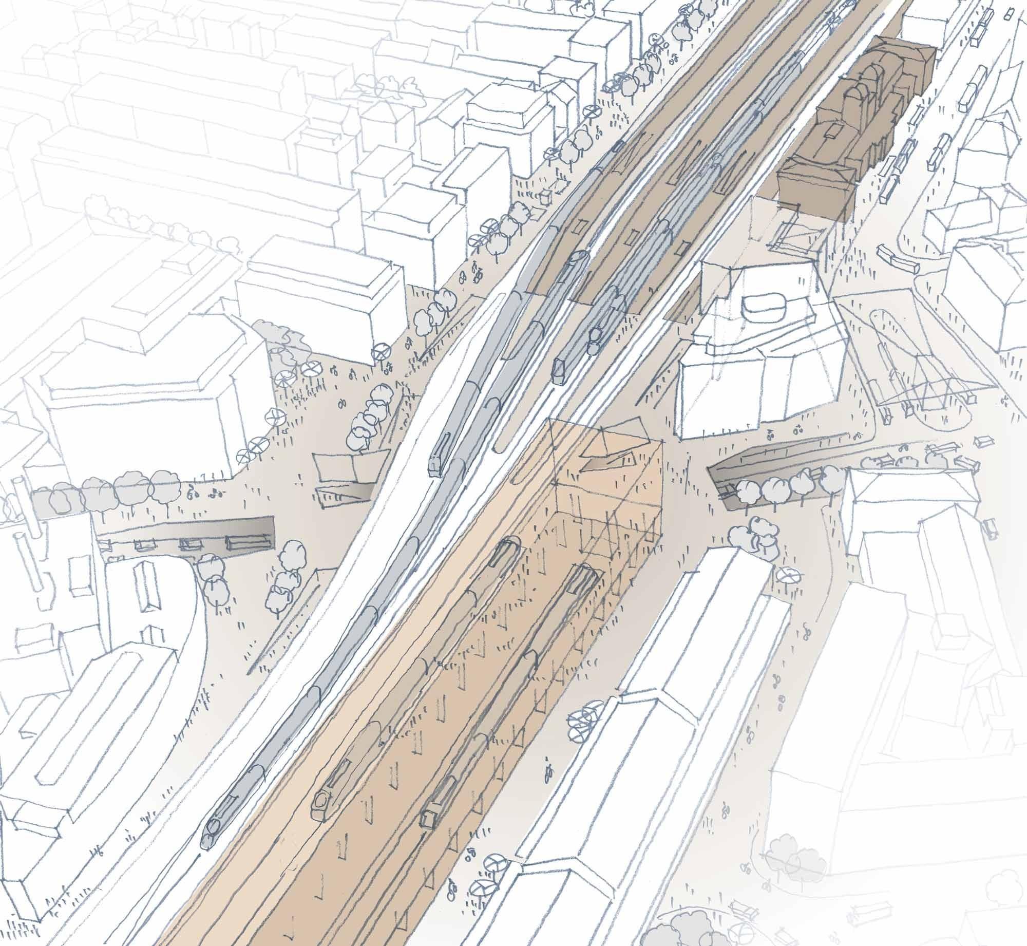 Skizze Ausbau Bahnhof Winterthur Bahnhofsplatz und Areal Vogelsang Nord