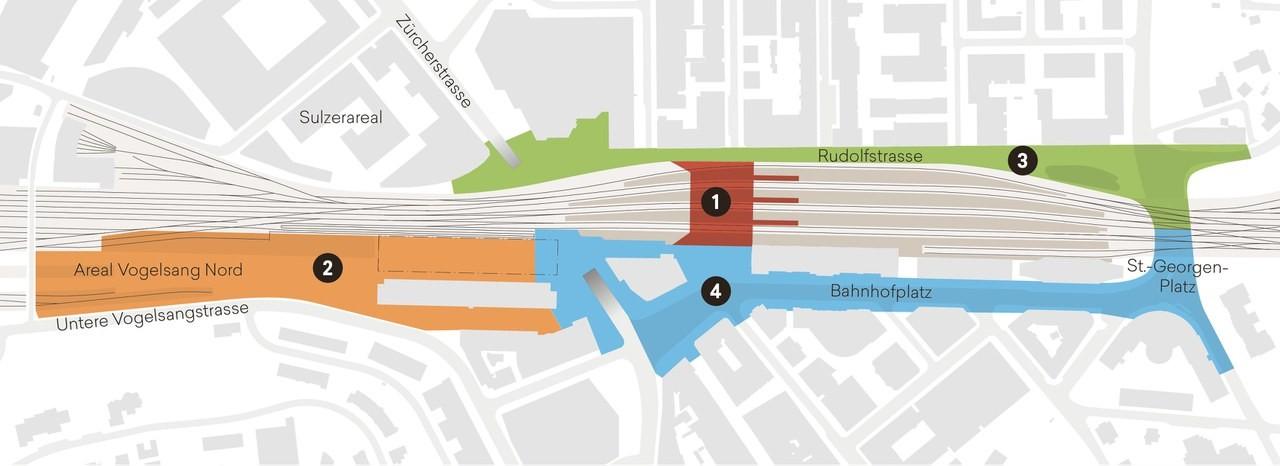 Infografik Arbeitspakete Ausbau Bahnhof Winterthur