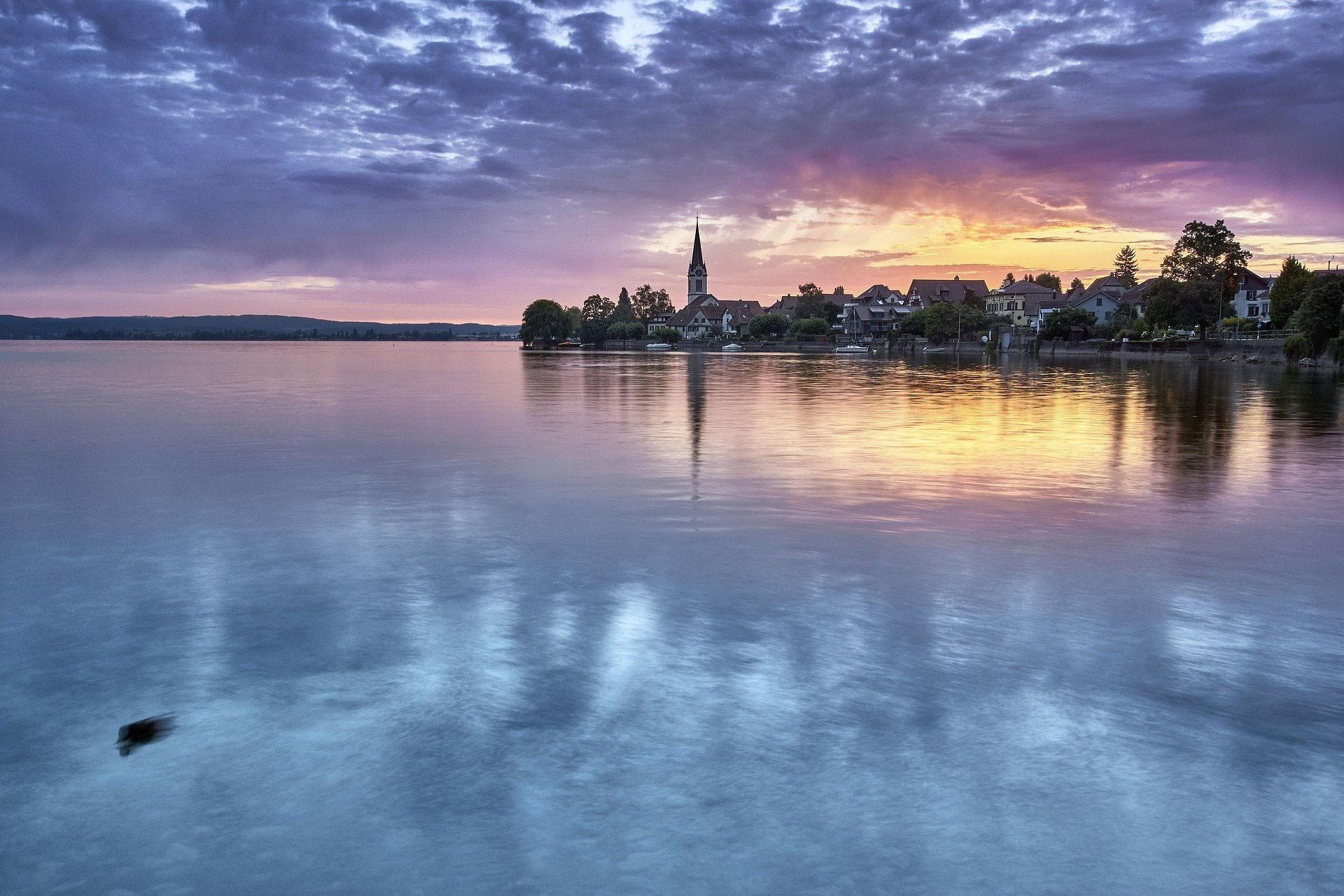 Romanshorn vom Bodensee aus gesehen.
