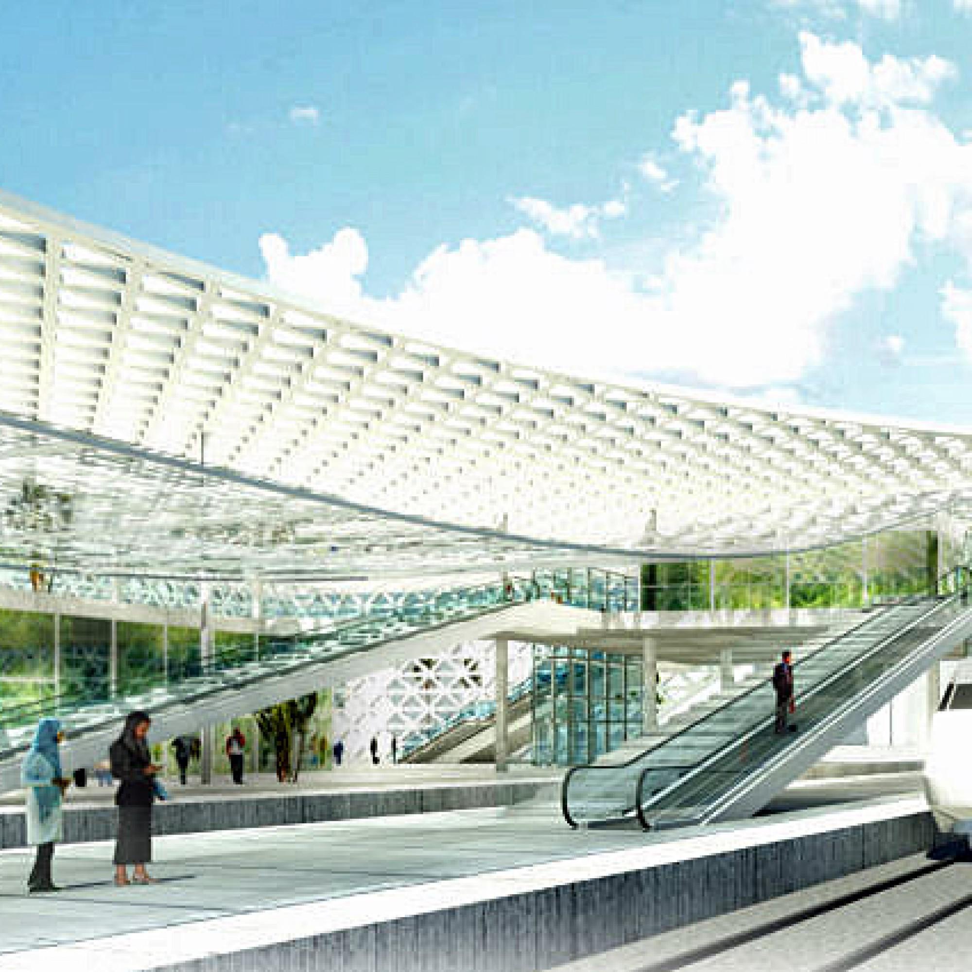 Das Hauptvolumen des Bahnhofs besteht aus einer grossen, erhöhten Passerelle, die zu allen Gleisen führt. Diese Fussgängerbrücke soll begrünt werden und kann über Rolltreppen vom ebenerdigen Geschoss erreicht werden. (Bild: Architekten)