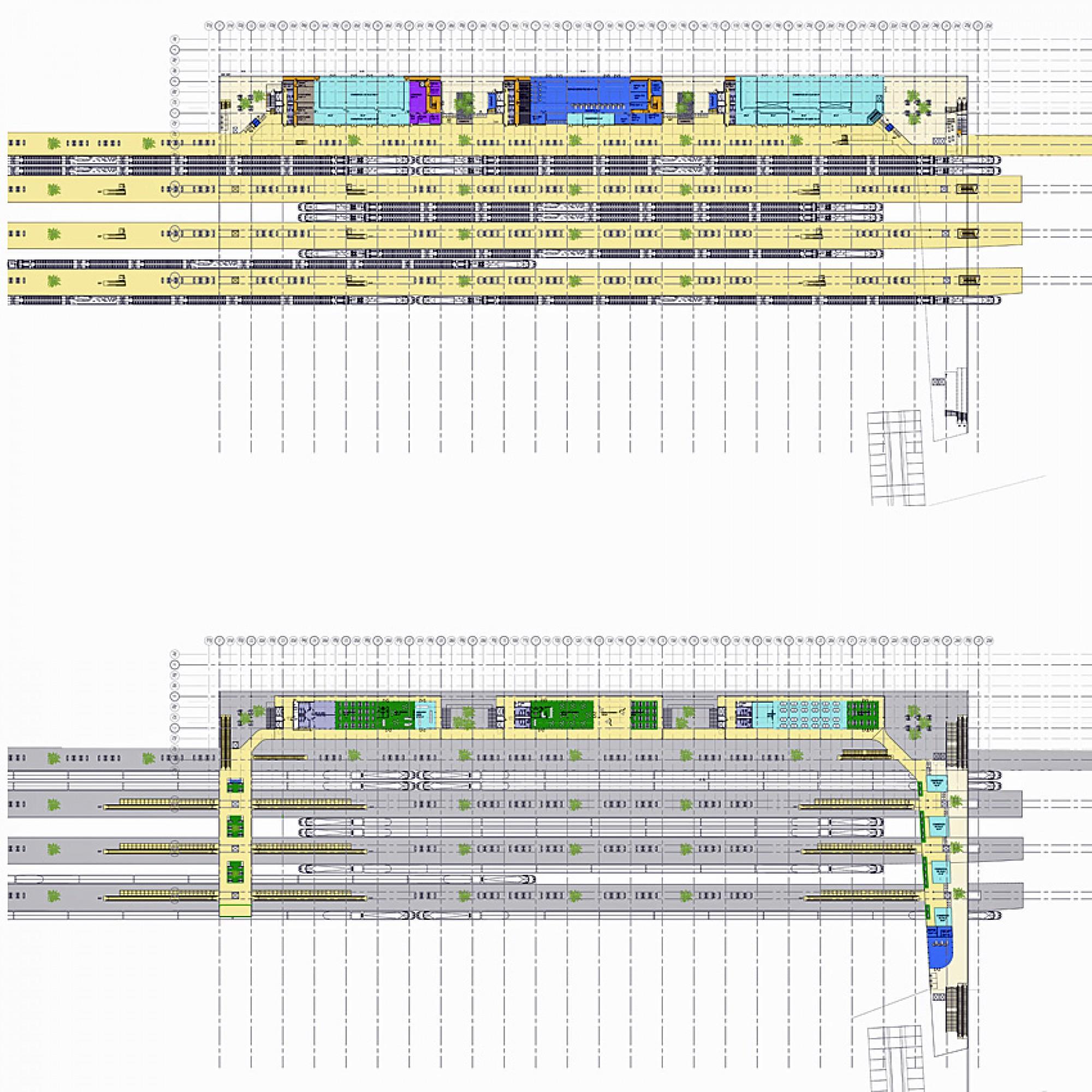 Grundrisse der zwei Hauptebenen des Bahnhofs. (Bild: Architekten)