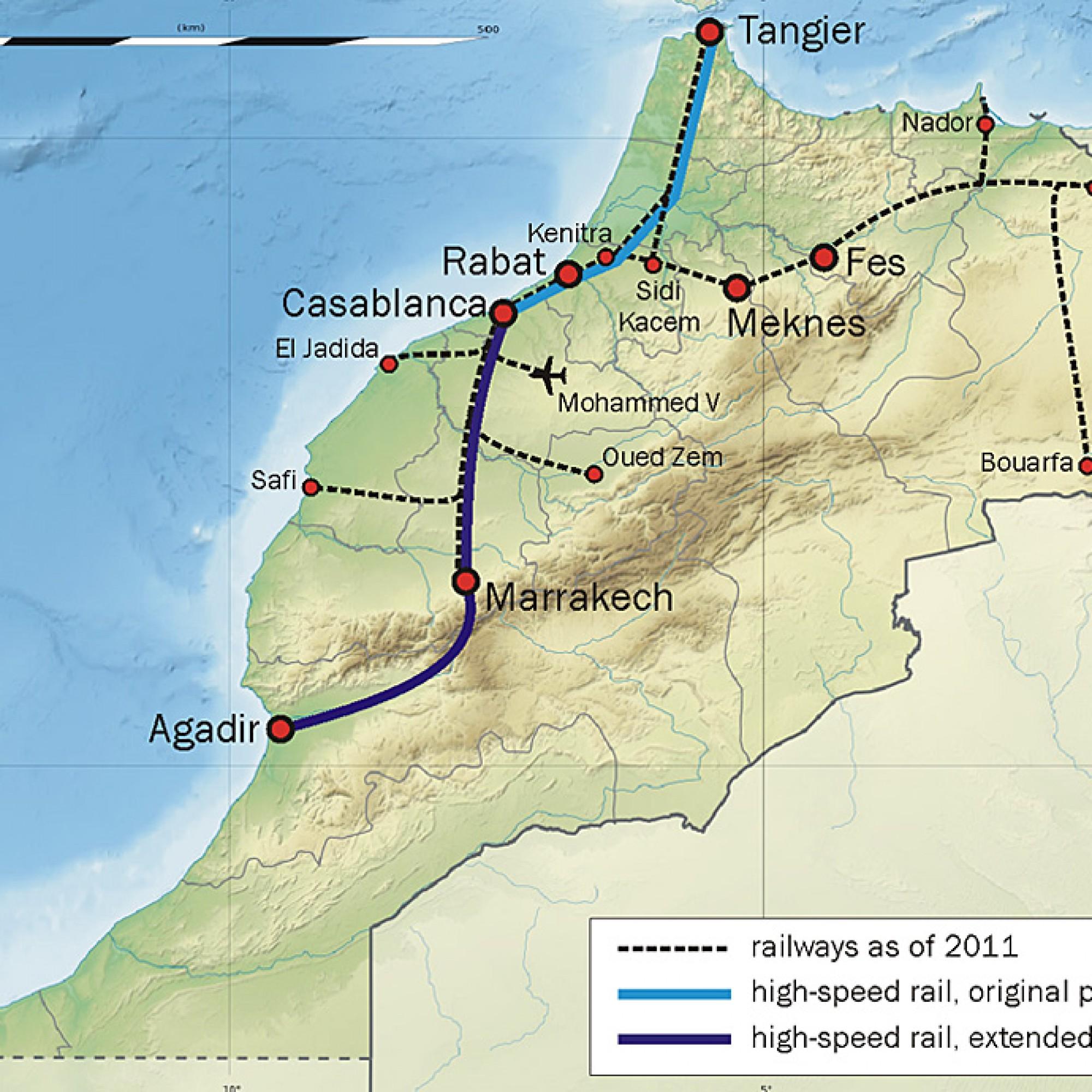 Das Schienennetz von Marokko. (Bild: wikimedia CC)