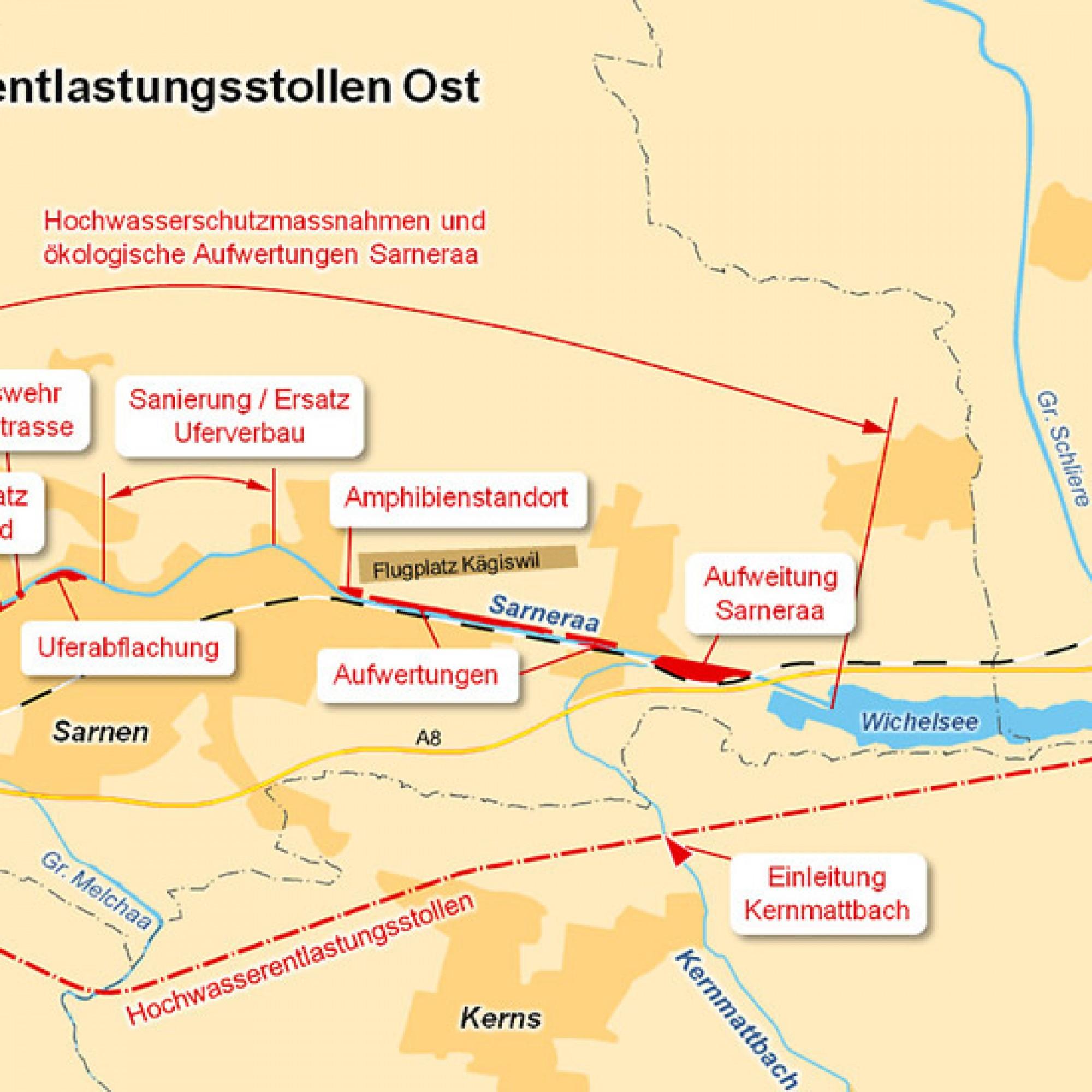 Der Entlastungsstollen verläuft zwischen dem Sarner- und dem Wichelsee. (pd)