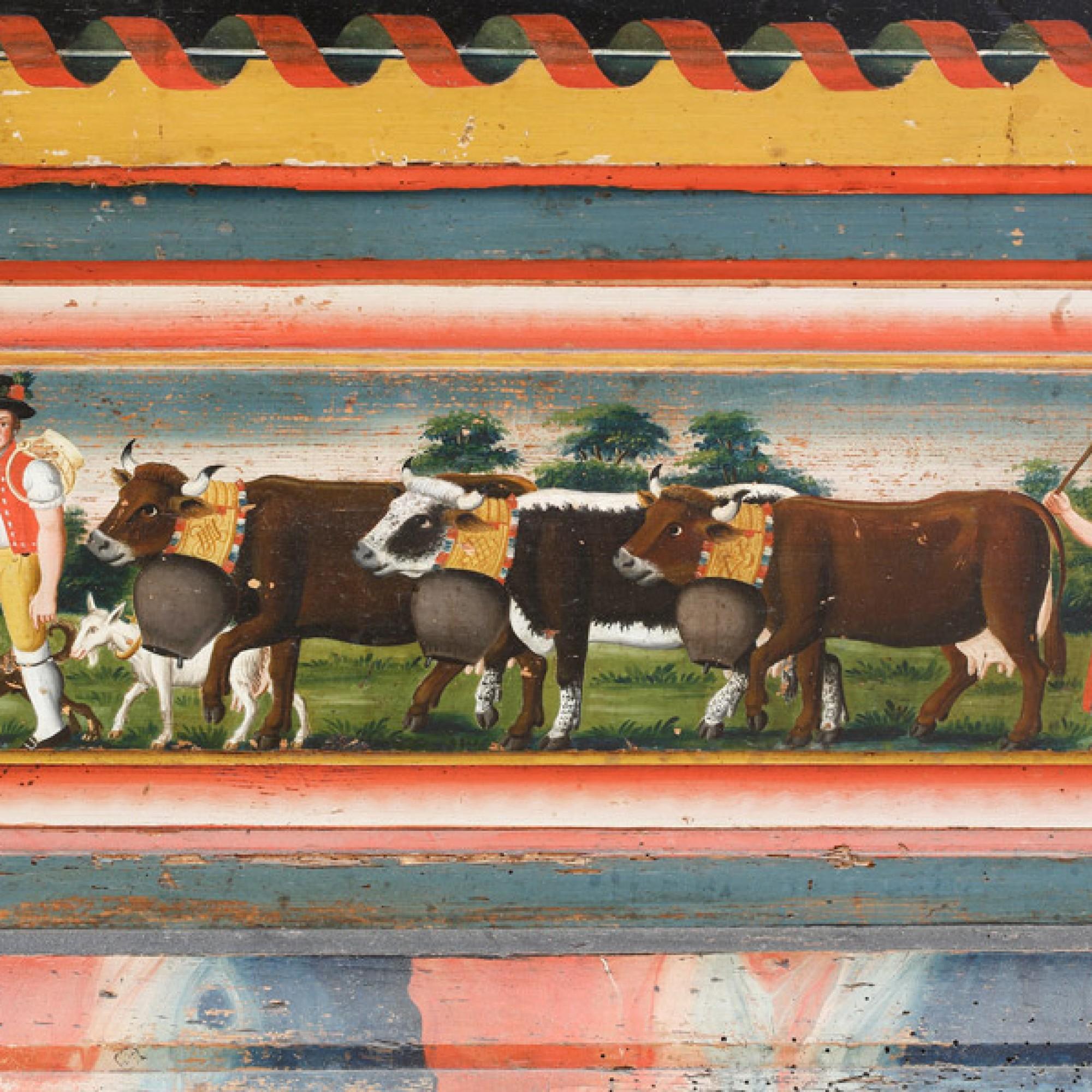 Kasten, um 1820 (Detail) Gehört dem Hs. Conrad Bodenmann und Elsbetha Bodenmann Appenzeller Brauchtumsmuseum Urnäsch. (Stefan Rohner)