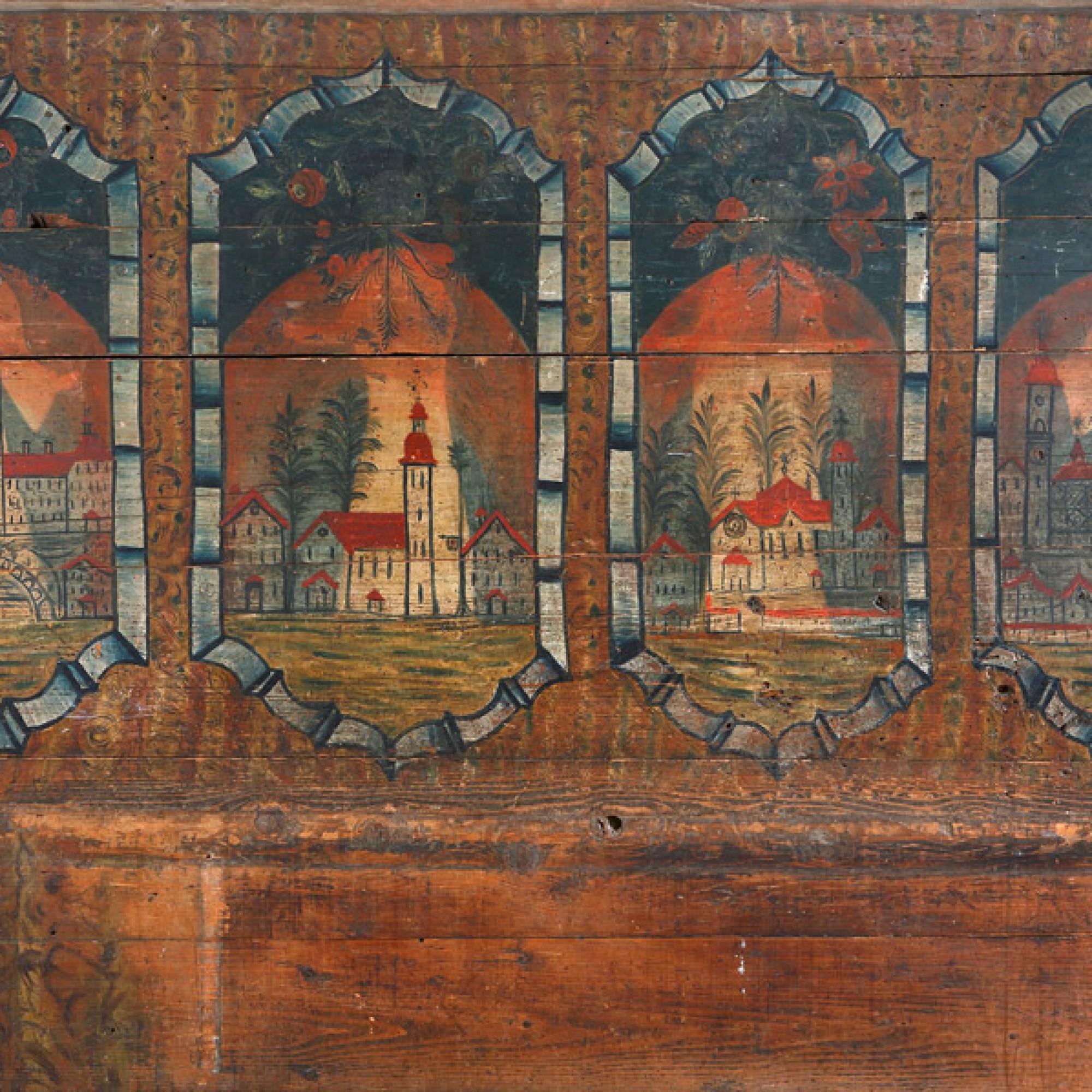 Bemalte Bohlenwand aus einem Bauernhaus in Waldkirch SG Ende 18. Jahrhundert Kunstmuseum St.Gallen. (Stefan Rohner)