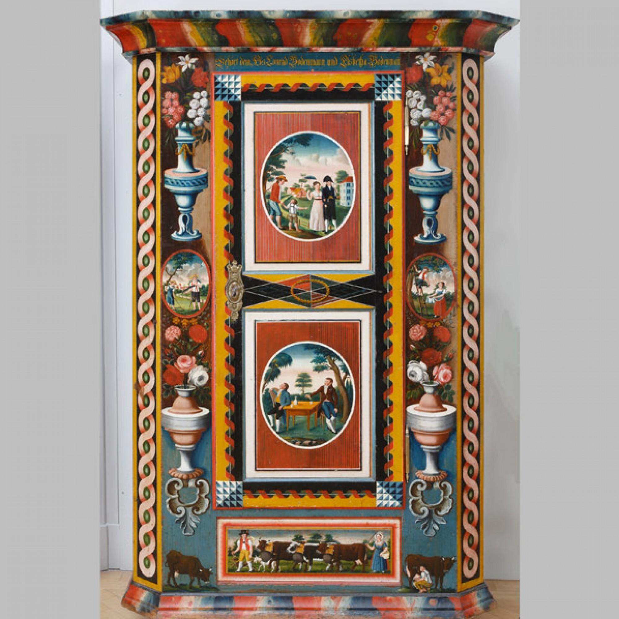 Kasten, um 1820 Gehört dem Hs. Conrad Bodenmann und Elsbetha Bodenmann Appenzeller Brauchtumsmuseum Urnäsch. (Stefan Rohner)