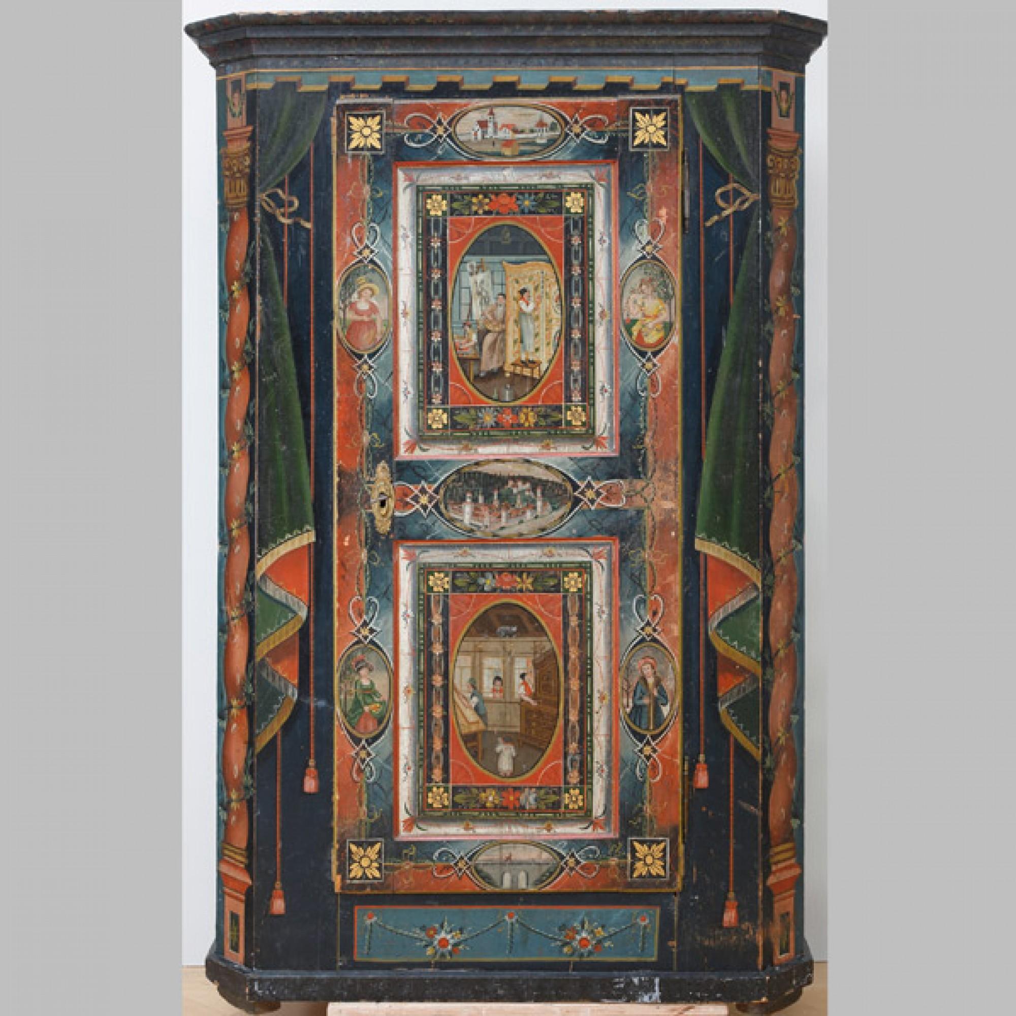 Kasten mit der Malerwerkstatt Erste Hälfe des 19. Jahrhunderts Musée Gruérien, Bulle FR. (Stefan Rohner)