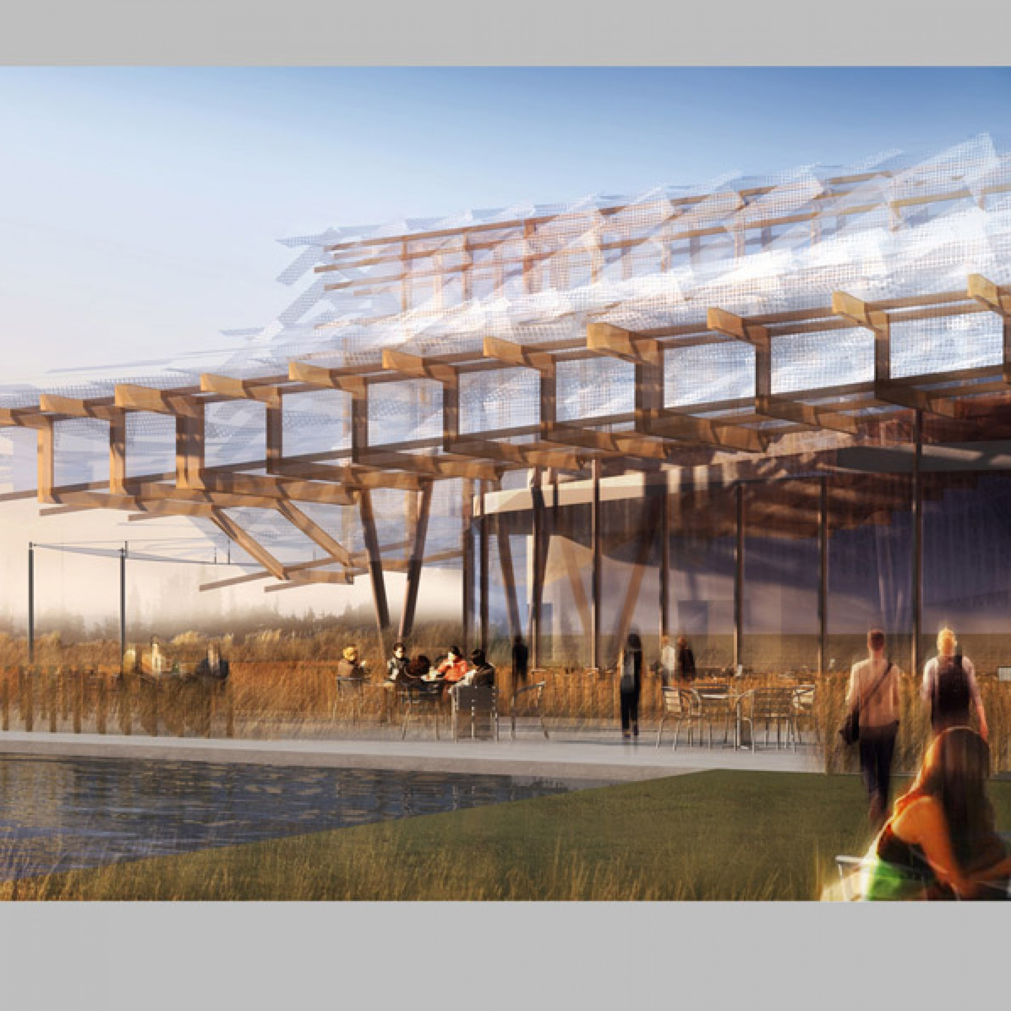 Die Dachkonstruktion soll an die traditionelle, chinesische Bauweise errinnern...  (Visualisierung zvg)