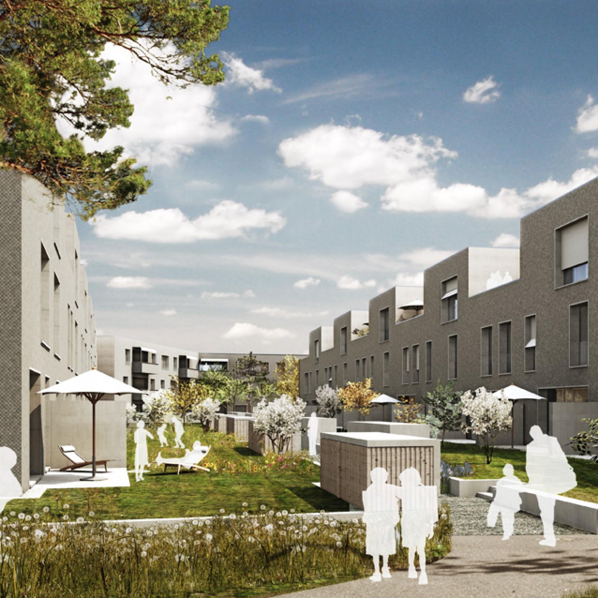 Auf dem Schorenareal werden nebst Mehrfamilienhäusern mit Eigentumswohnungen auch 43 Stadthäuser gebaut. (Bild: zvg)