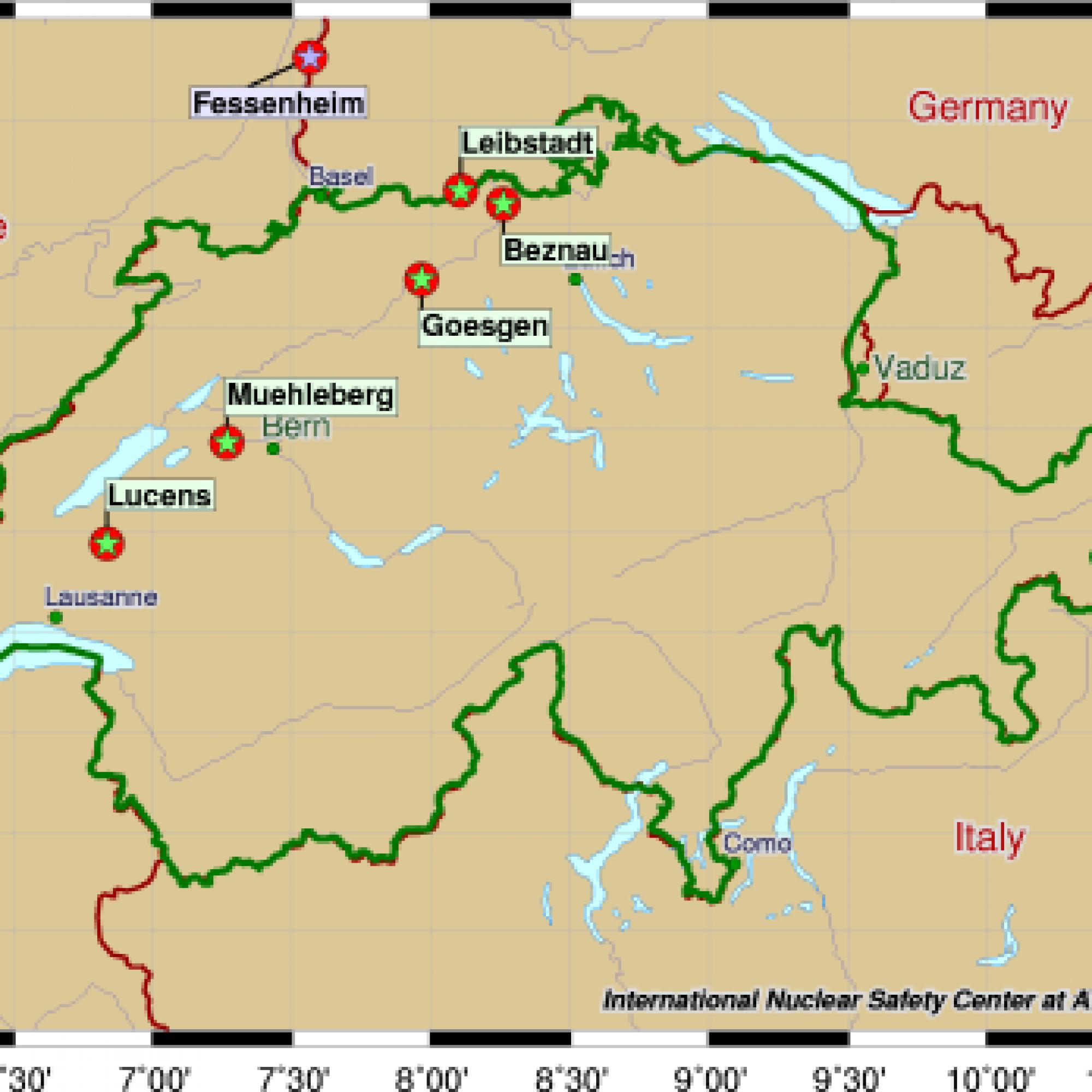 AKW-Standorte in der Schweiz (Bild: wikimedia, CC)
