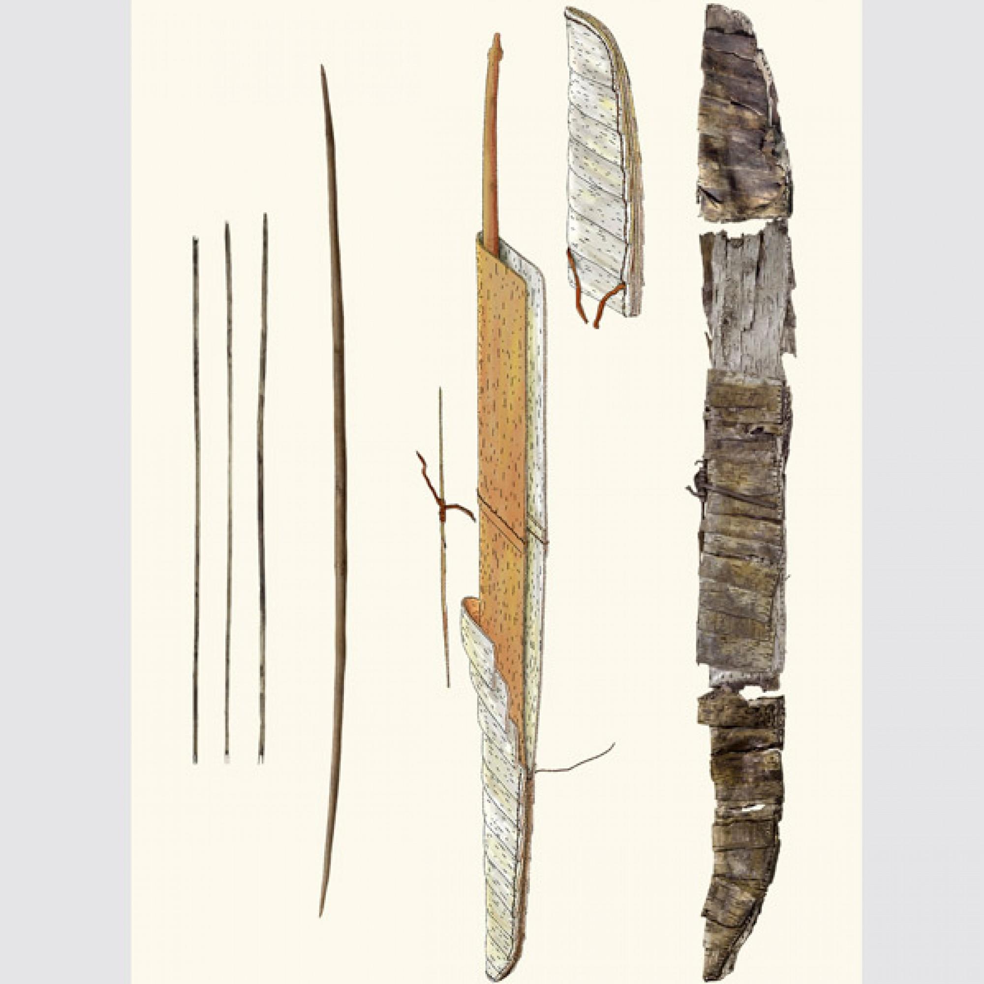 So sahen Pfeil und Bogen aus, dem Jäger gehörten. (PD)