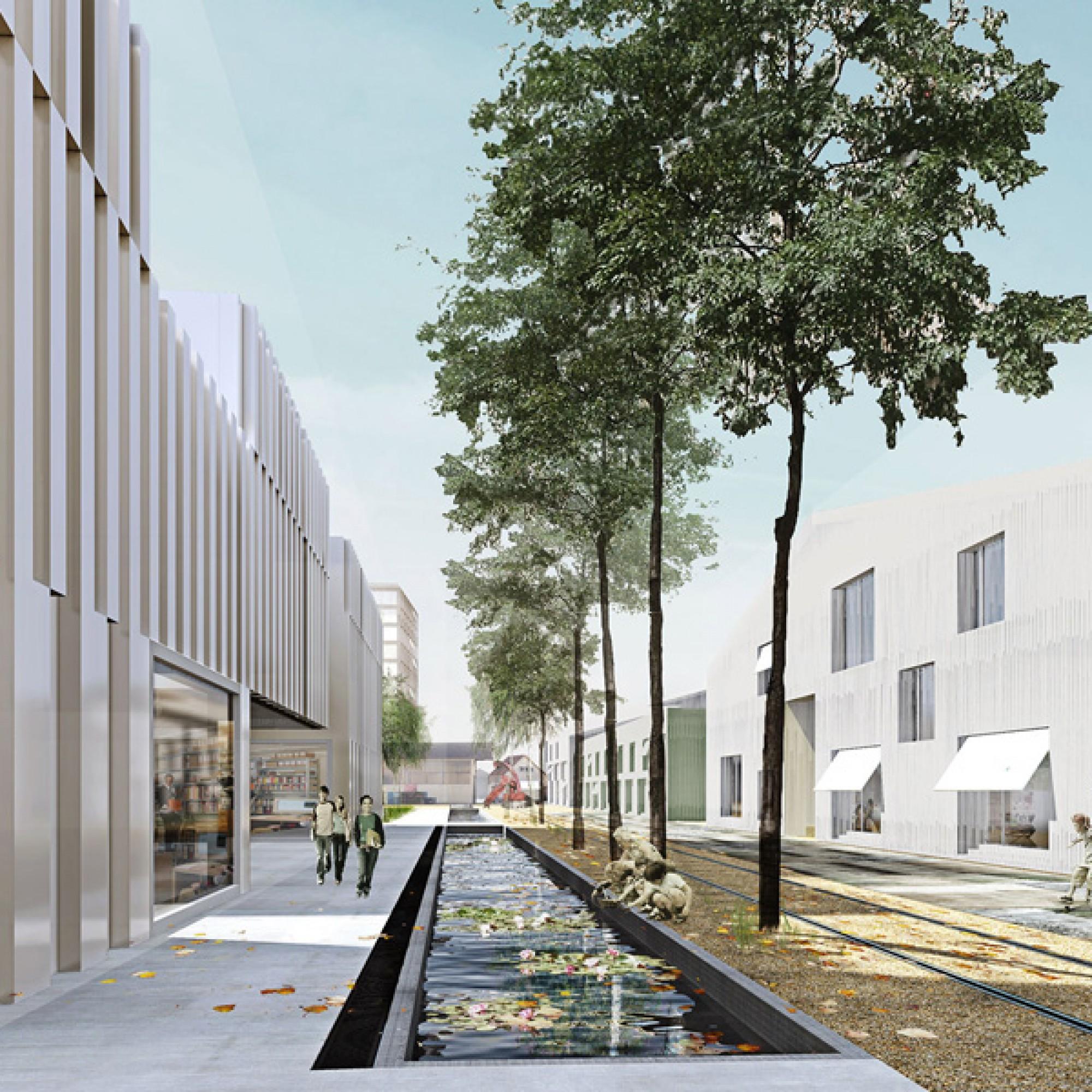 Visualisierung Promenade an Wasserkanal und Geleiseanlagen