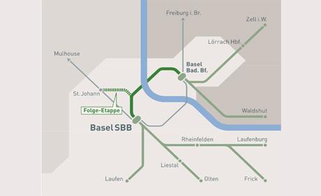 Der (dunkelgrün) Tunnel ist das Herzstück des S-Bahn-Projekts (Quelle: www.herzstueck-basel.ch)