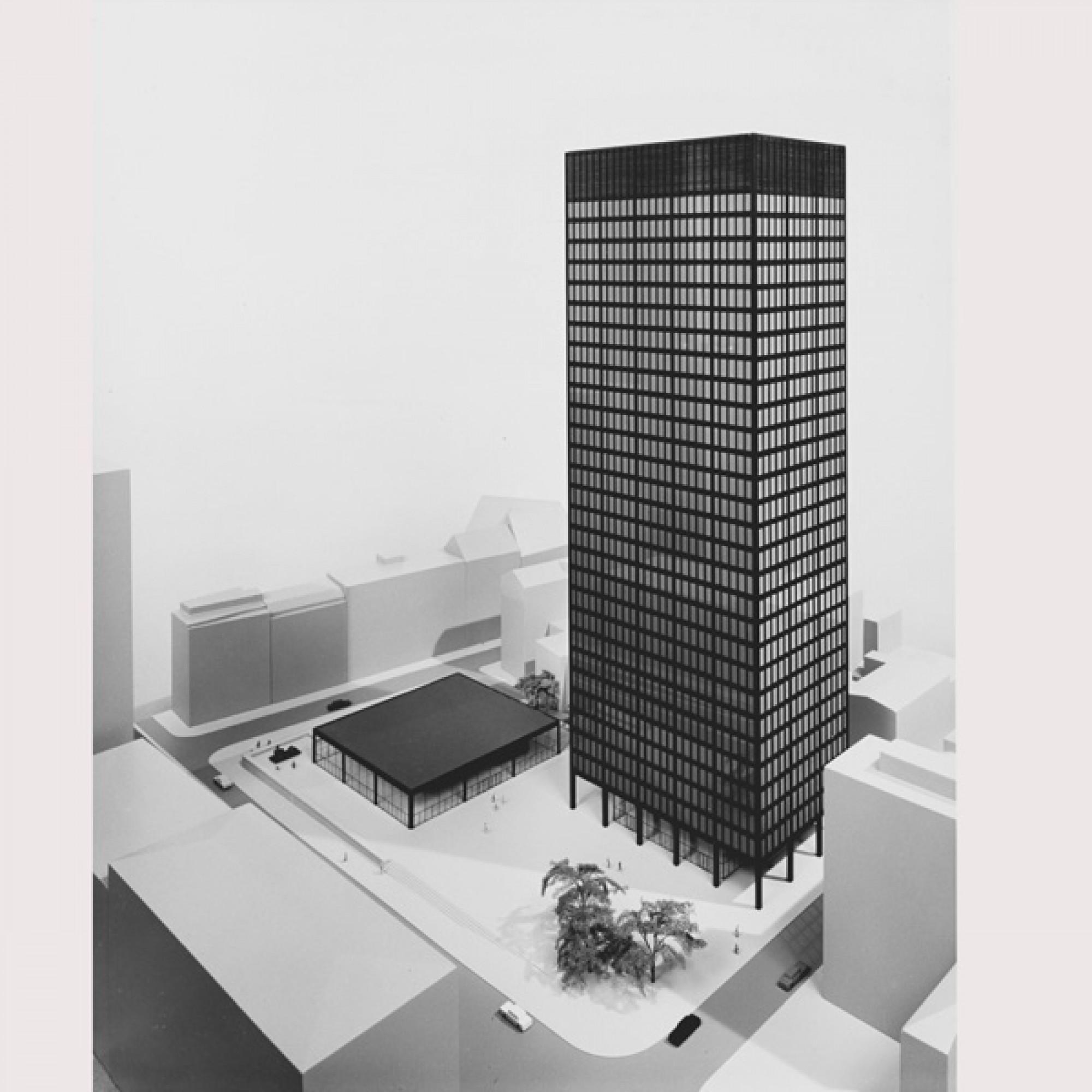 Wettbewerbsentwurf für die Commerzbank, Ludwig Mies van der Rohe, 1968 (201 MoMA, New York; Scala, Florenz)