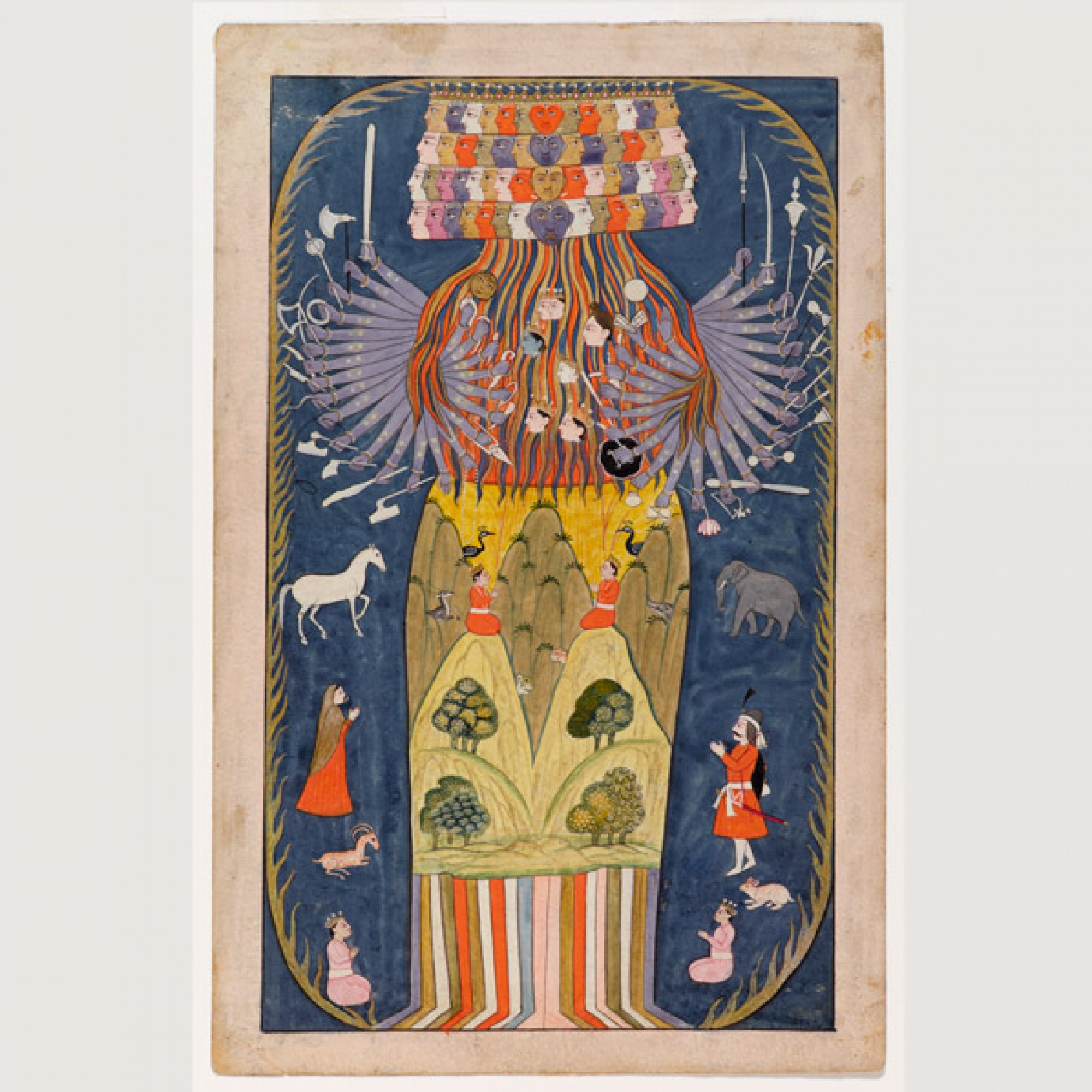 Vishvarupa: Krishna in seiner kosmischen Form Unbekannter Künstler Indien, Kaschmir, 1875–1900. (Rainer Wolfensberger / Museum Rietberg)