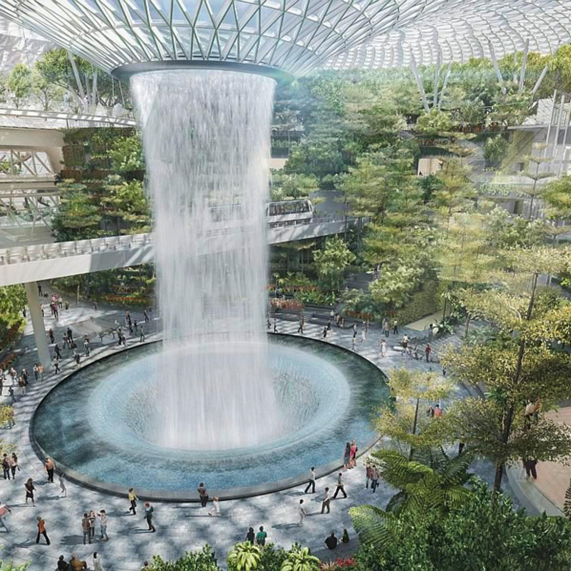 ...und ein Wasserfall, der mit Regenwasser gespeist wird, bilden das Herz der Erweiterung. (zvg)