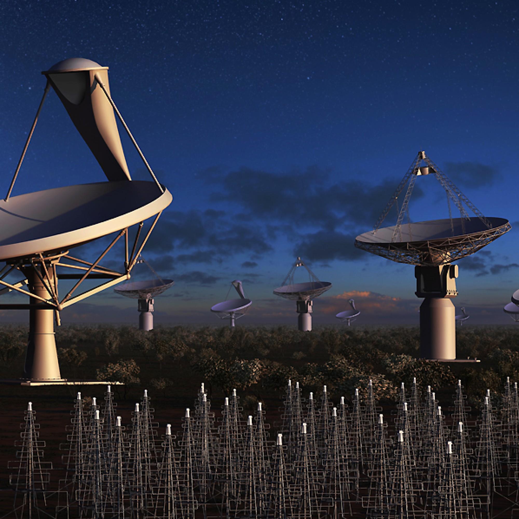 3000 Einzelteleskope und Tausende von Antennen sollen Daten liefern und neue Blicke ins All ermöglichen. (PD)