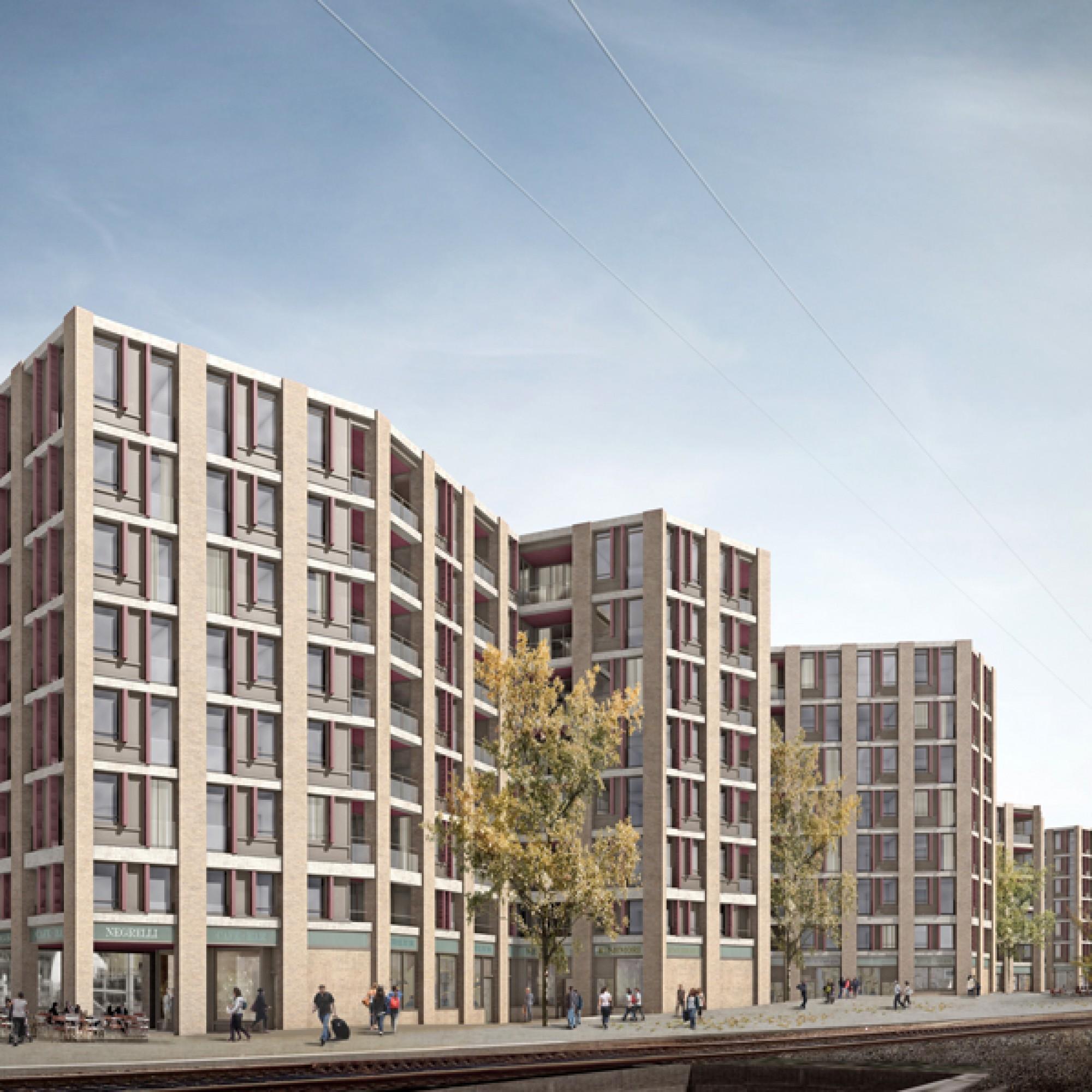 Die unterschiedlich gegliederten Baukörper der Wohnüberbauung... (SBB)