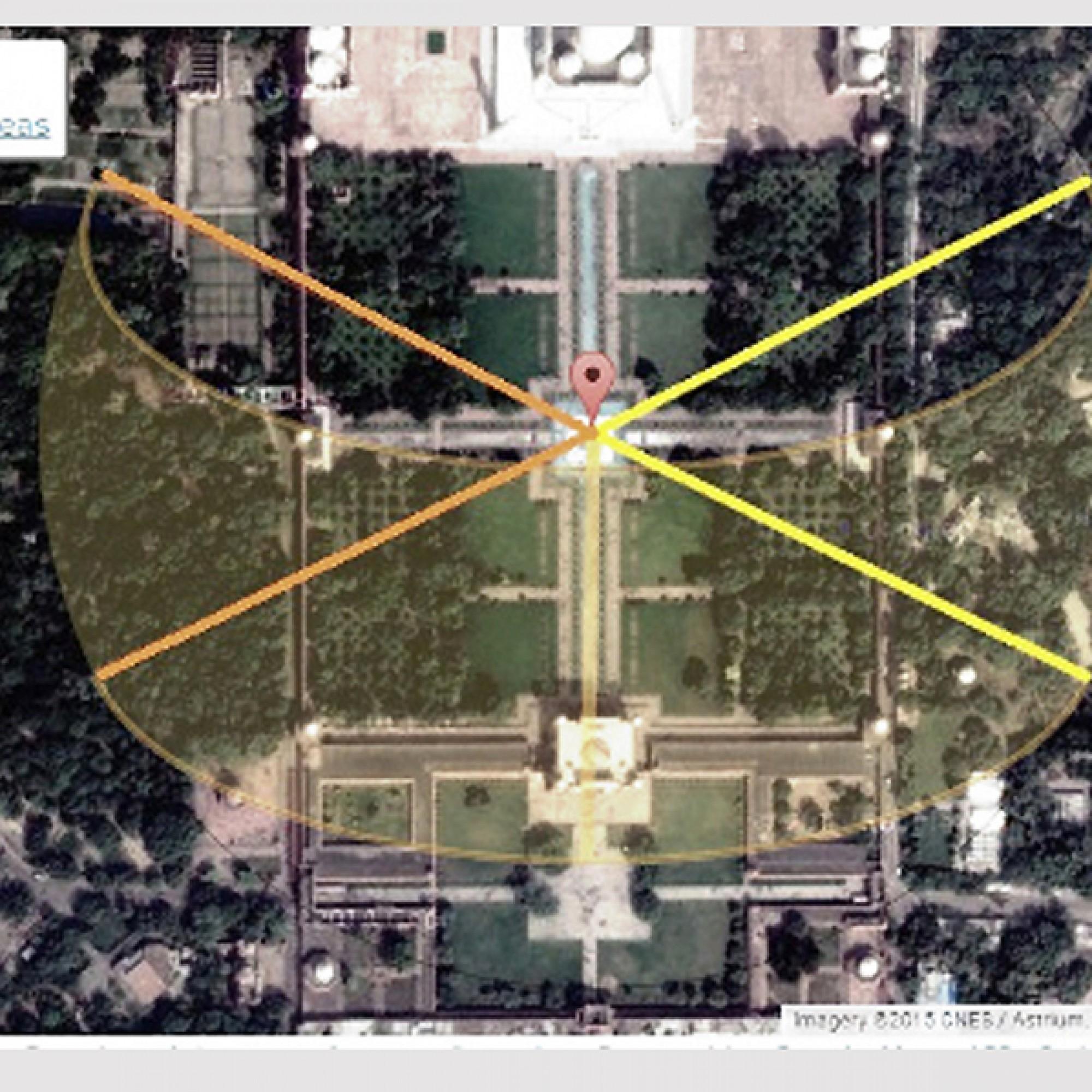 Die Sonnenaufgänge - orangegarbene  Linien -  und die Sonnenuntergänge können an der Sommer- bzw. Wintersonnenwende über den entsprechenden Pavillons beobachtet werden. (zvg)