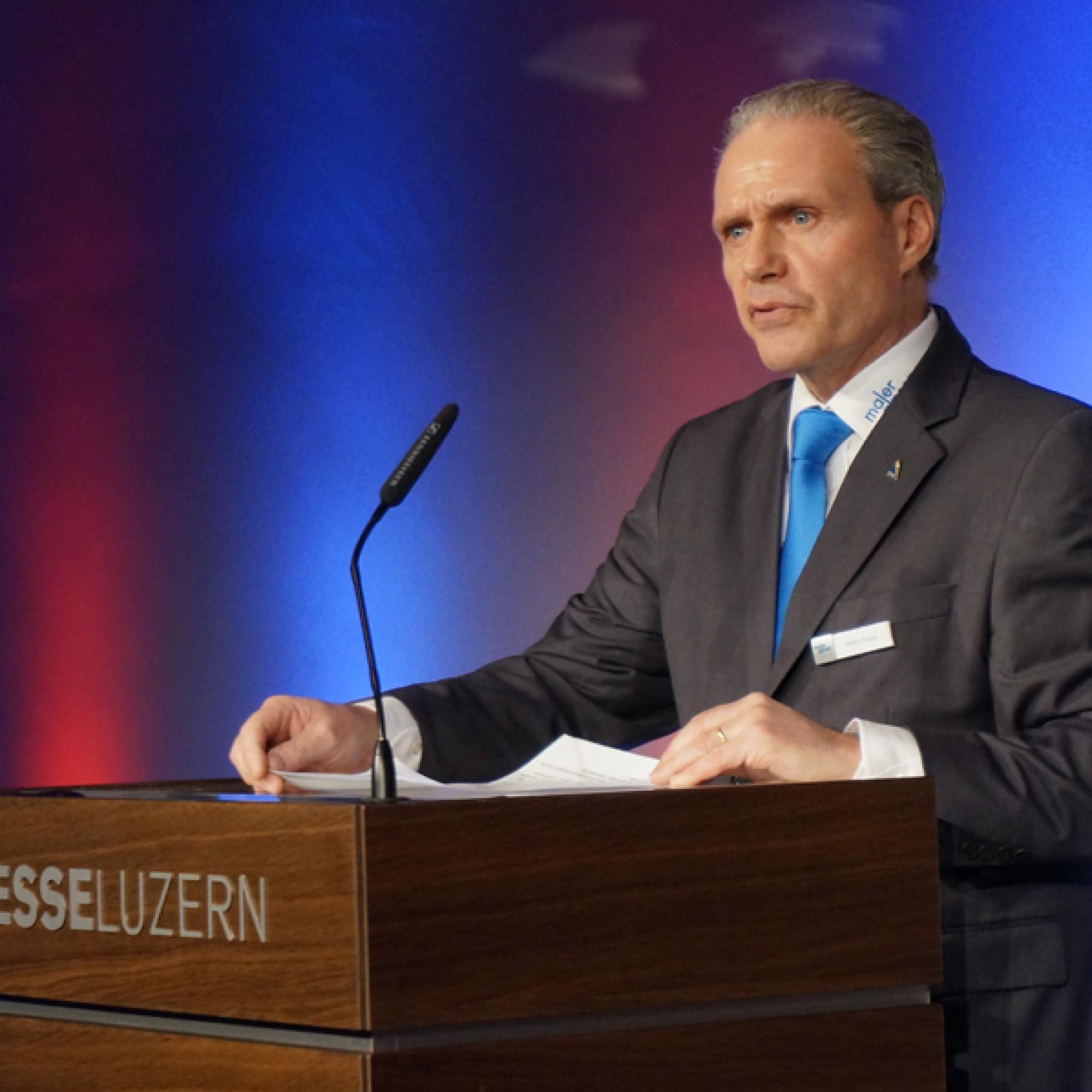 Mario Freda, Präsident des Messekomitees und Zentralpräsident ad interim des Schweizerischen Maler- und Gipserunternehmerverbands (SMGV). (Gabriel Diezi)