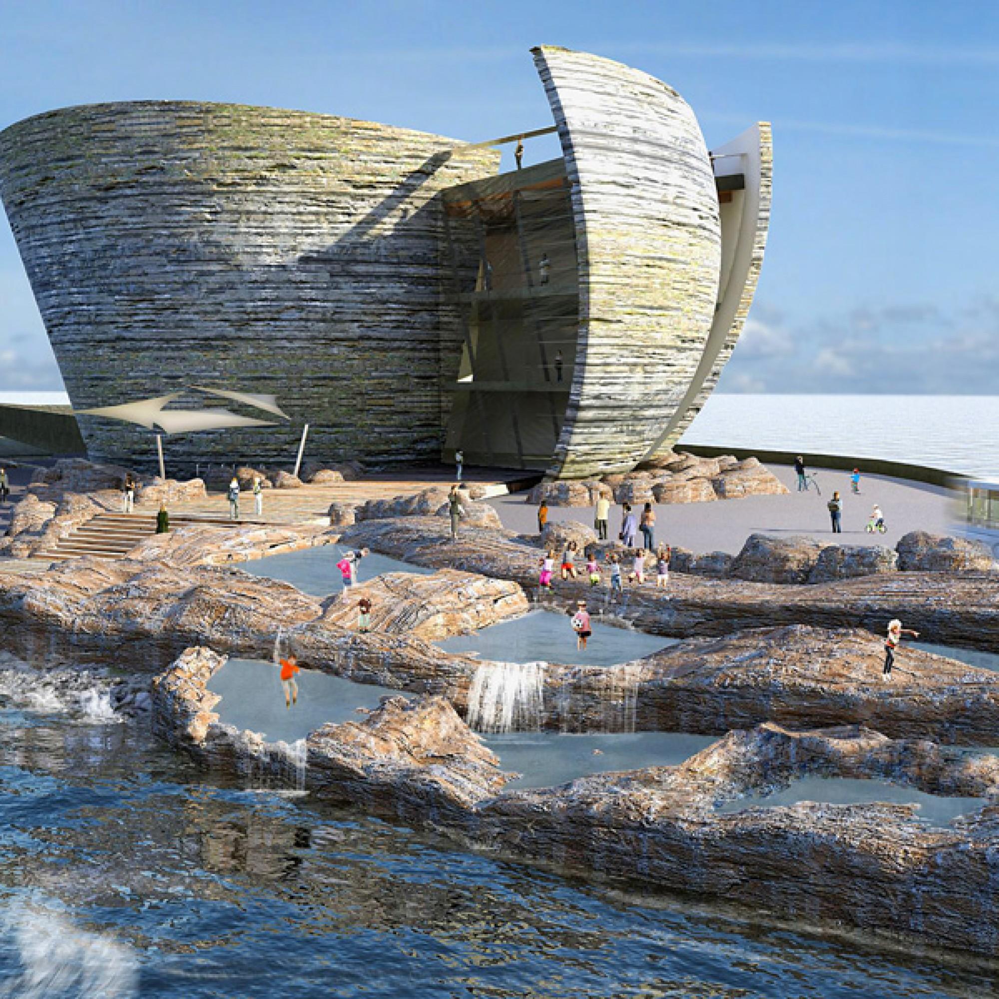 Juice Architects: Besucherzentrum  des Gezeitenkraftwerks bei Swansea in Wales. (pd)
