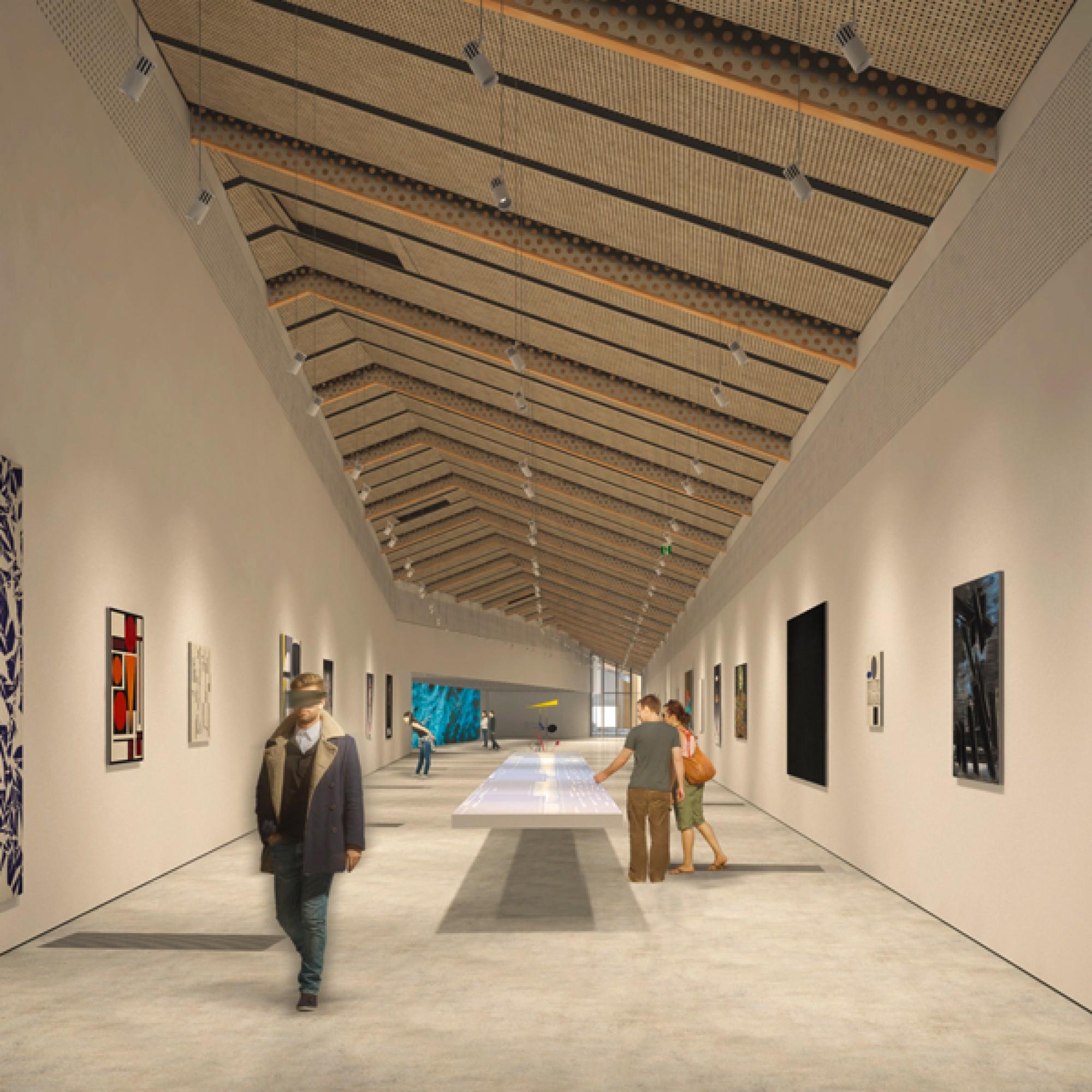 ... verschiedene Ausstellungsräume...  vorgesehen. (EPFL)