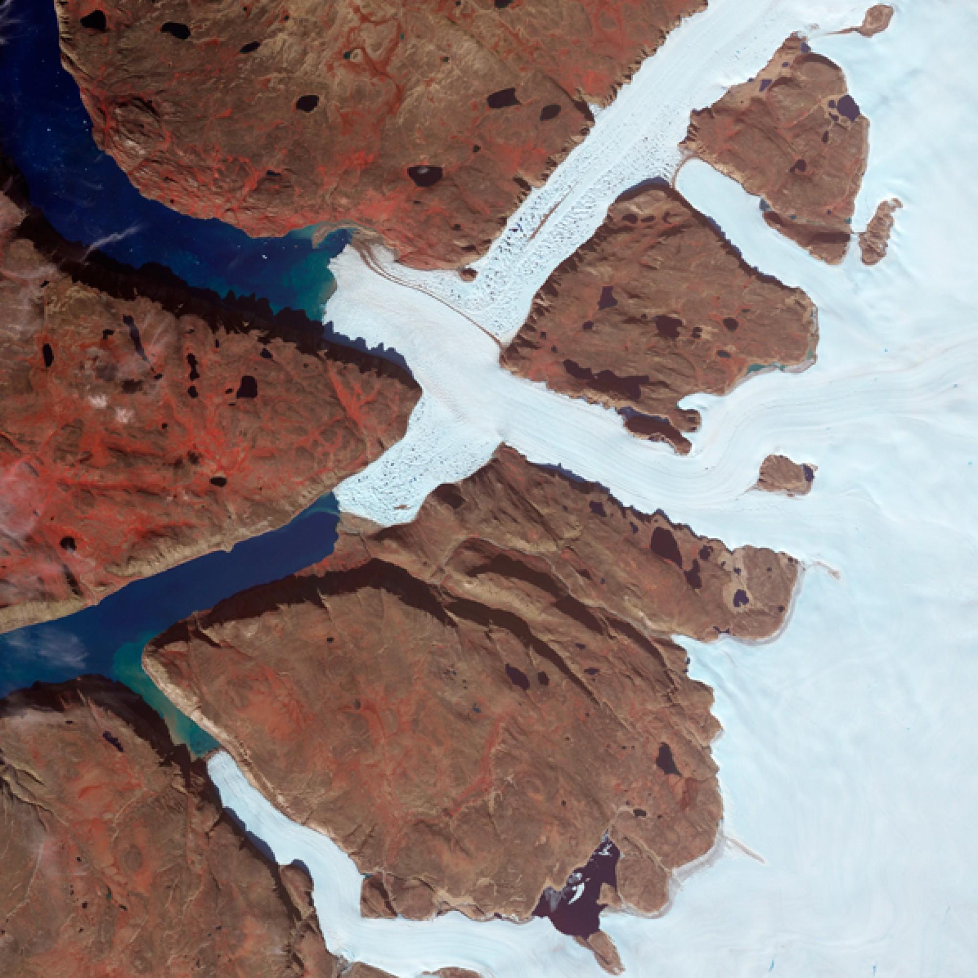 Gletscherzugen auf Island. (Nasa)