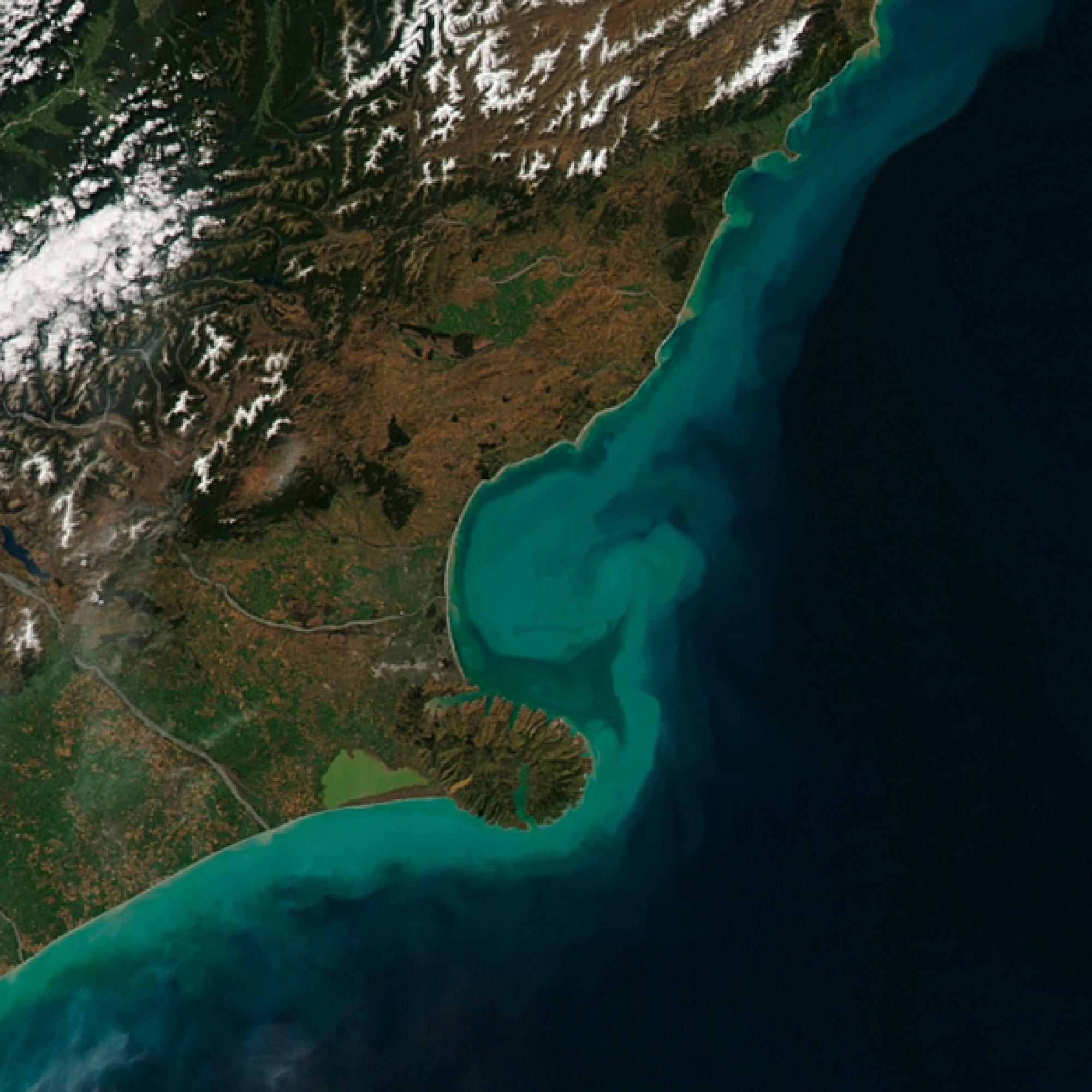 Küste der südlichen Insel Neuseelands. (Nasa)