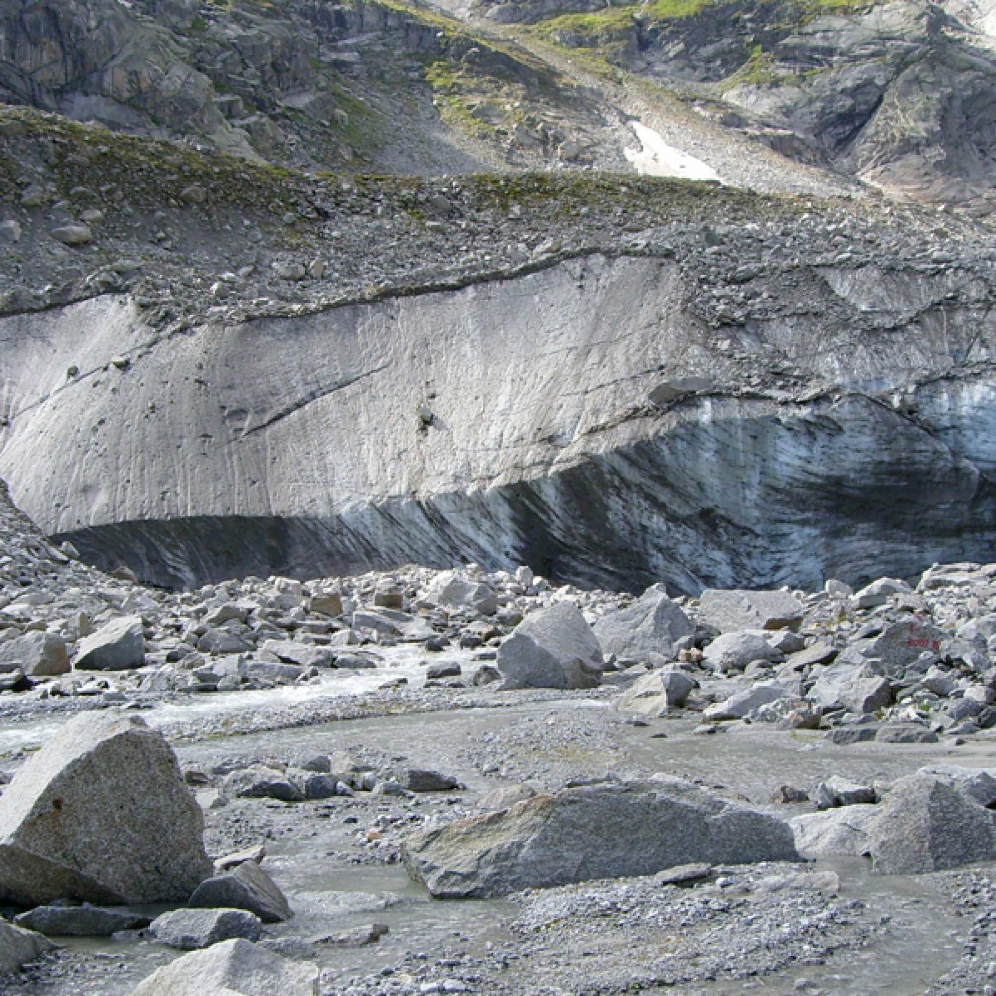 Schmelzen die Gletscher, setzen sie unwirtliche Landschaften frei. Hier untersuchen Forschende, wie es dem Leben gelingt auf dem kargen Boden Fuss zu fassen. (Beat Frey, WSL)