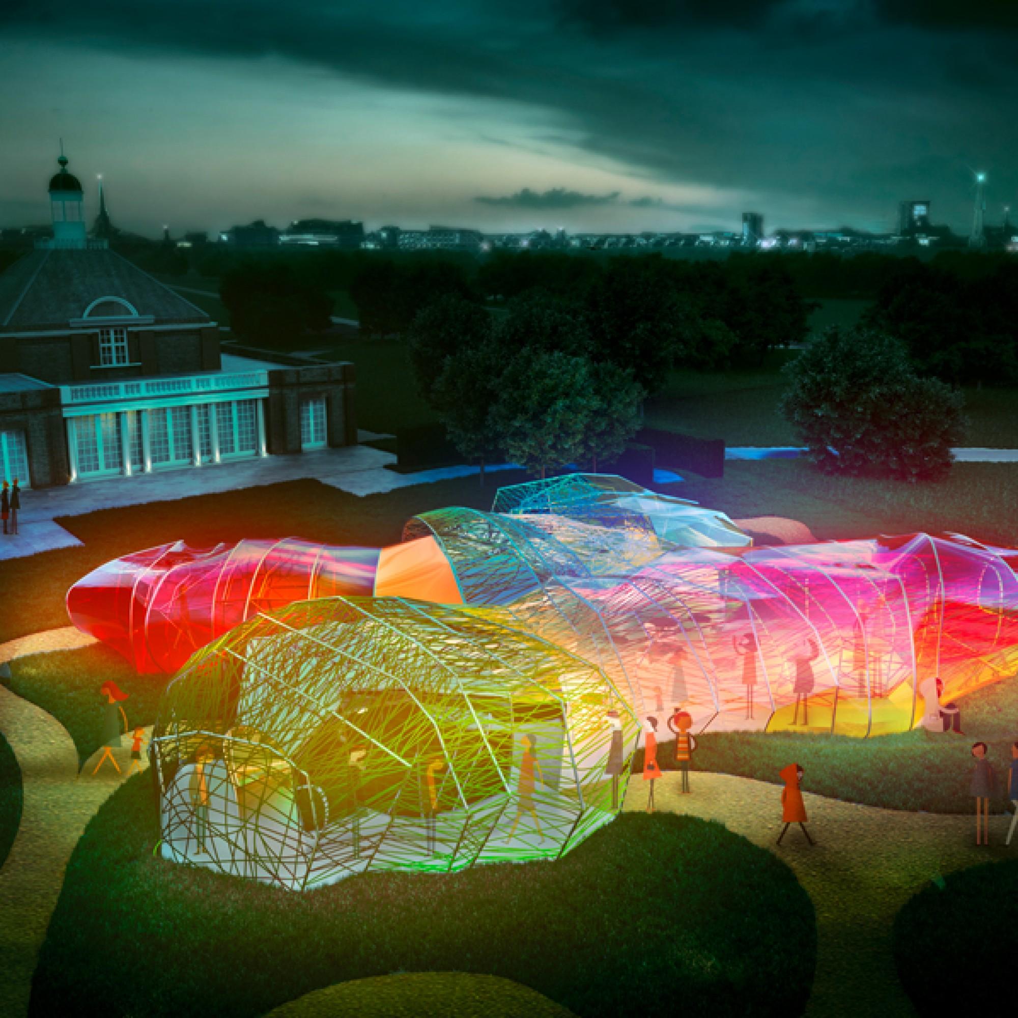 Der Serpentine Pavillon leuchtet sowohl nachts... (Serpentine Gallery)