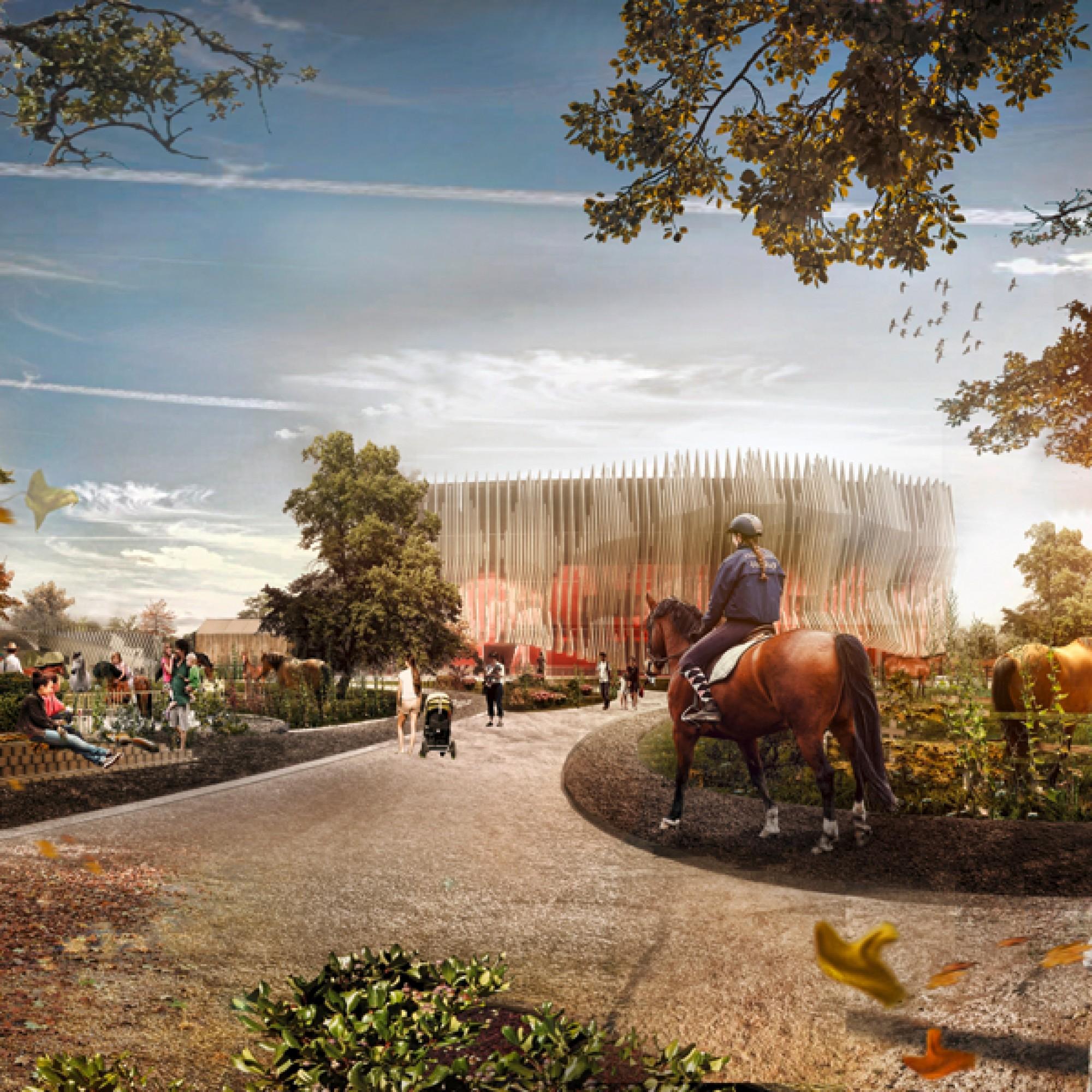 Die einzelnen Bauten sind in eine Parklandschaft eingebettet. 8PD)