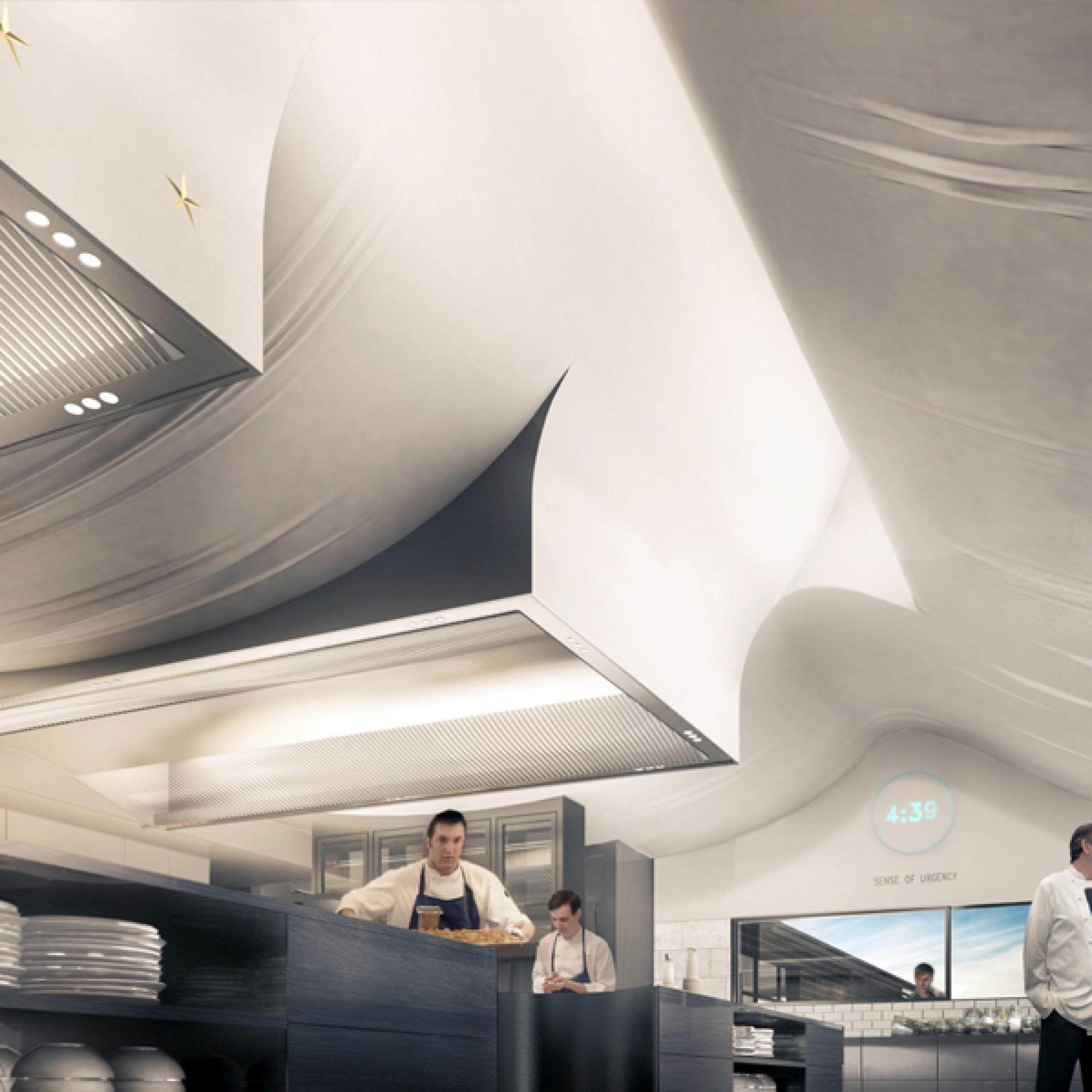 Die Köche arbeiten unter einer Decke, die von einem Tischtuch inspiriert wurde. (vzg)