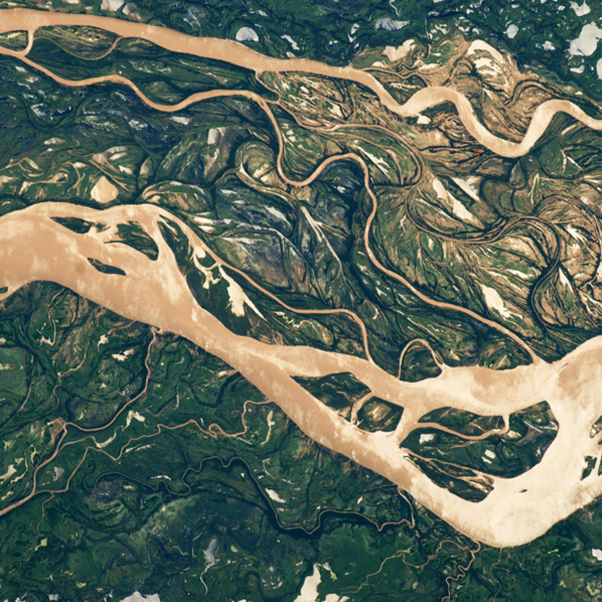 Der zweitgrösste Fluss Südamerikas, der Paraná. (Nasa)