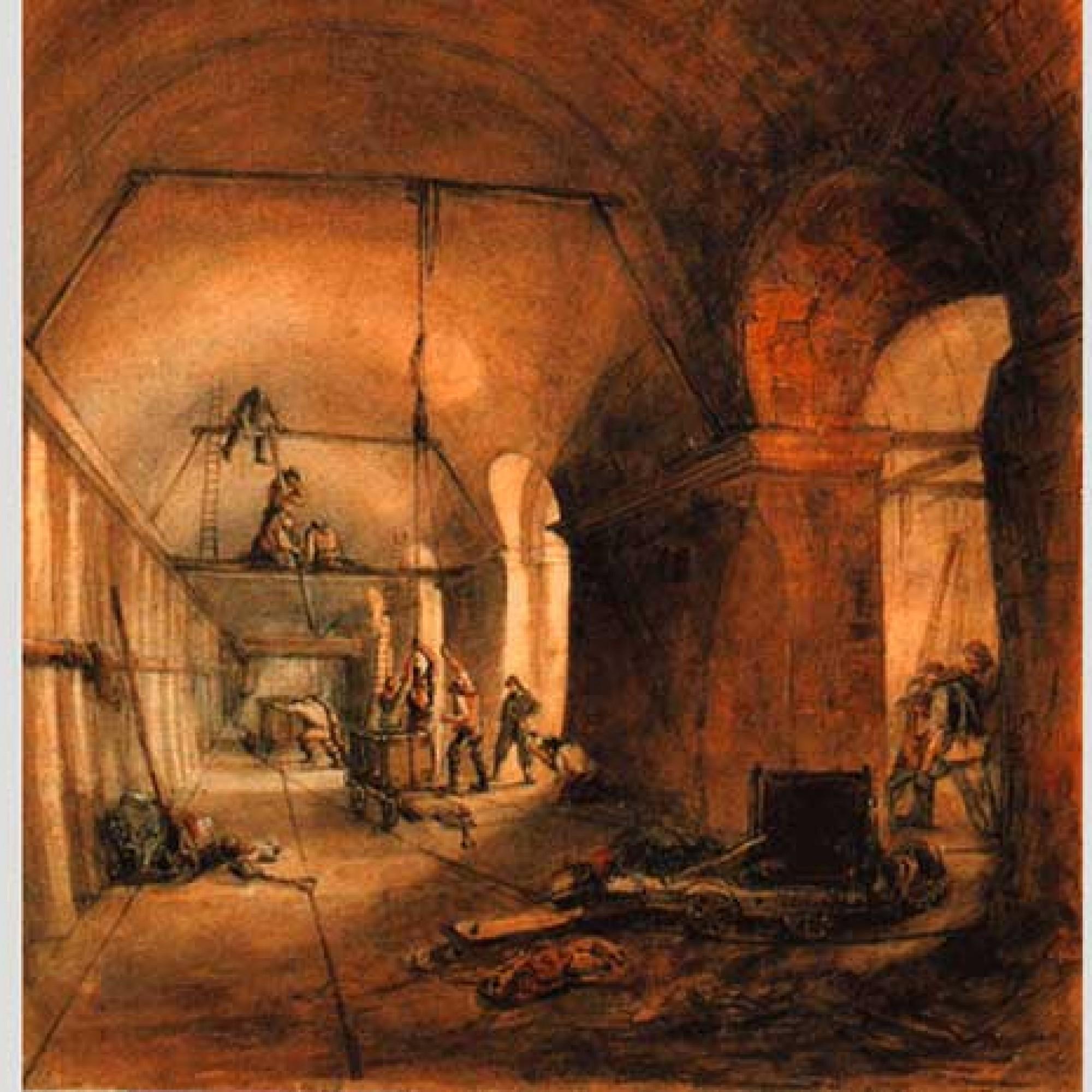 Baustelle um 1830 im Thames Tunnel. (Gemeinfrei, Wikimedia)