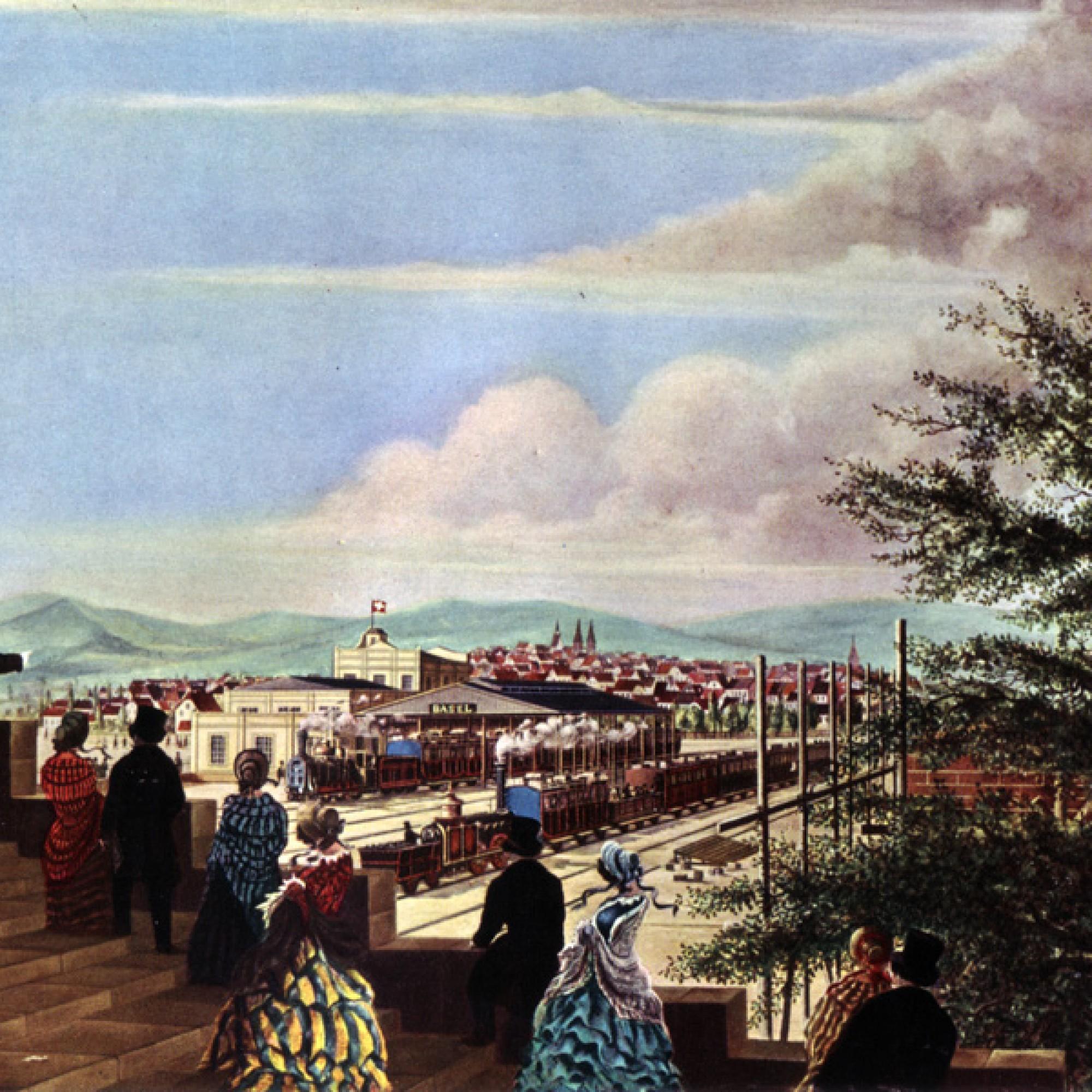 Der 1845 eröffnete französische Bahnhof von Basel (gemeinfrei)