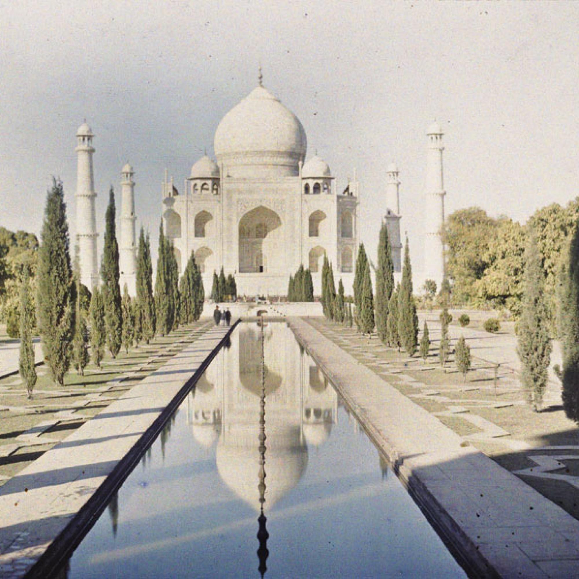 Stéphane Passet, Indien, Uttar Pradesh, Agra, Mausoleum Taj Mahal von Shah Jahan für Mumtaz Mahal , 19.-21. Januar 1914.  (Musée Albert-Kahn, Département des Hauts-de-Seine)