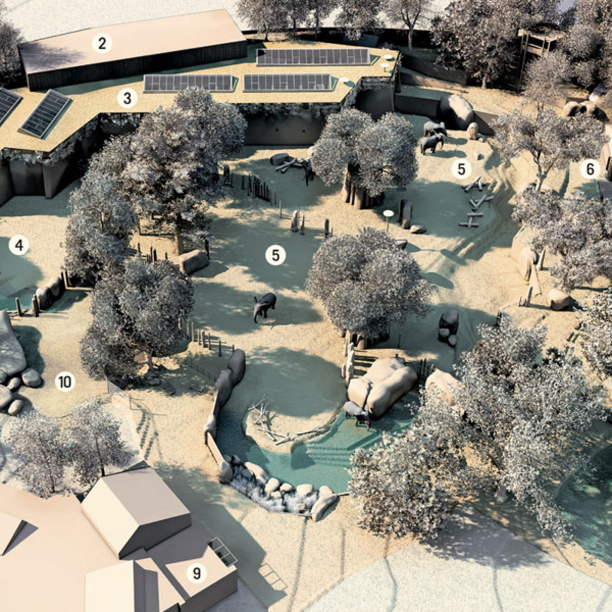 So sieht der Park für die Basler Elefanten im Übersichtsplan aus: 1 Zoo-Aussenmauer, 2 Heulager 3 Elefantenhaus, 4 Anlage Elefantenbulle, 5 Anlage Elefantenkühe, 6 Fenster Elefantenanlage, 7 Neue Restaurantterrasse, 8 Katta-Anlage, 9 Etoscha-Haus, 10 Gepa