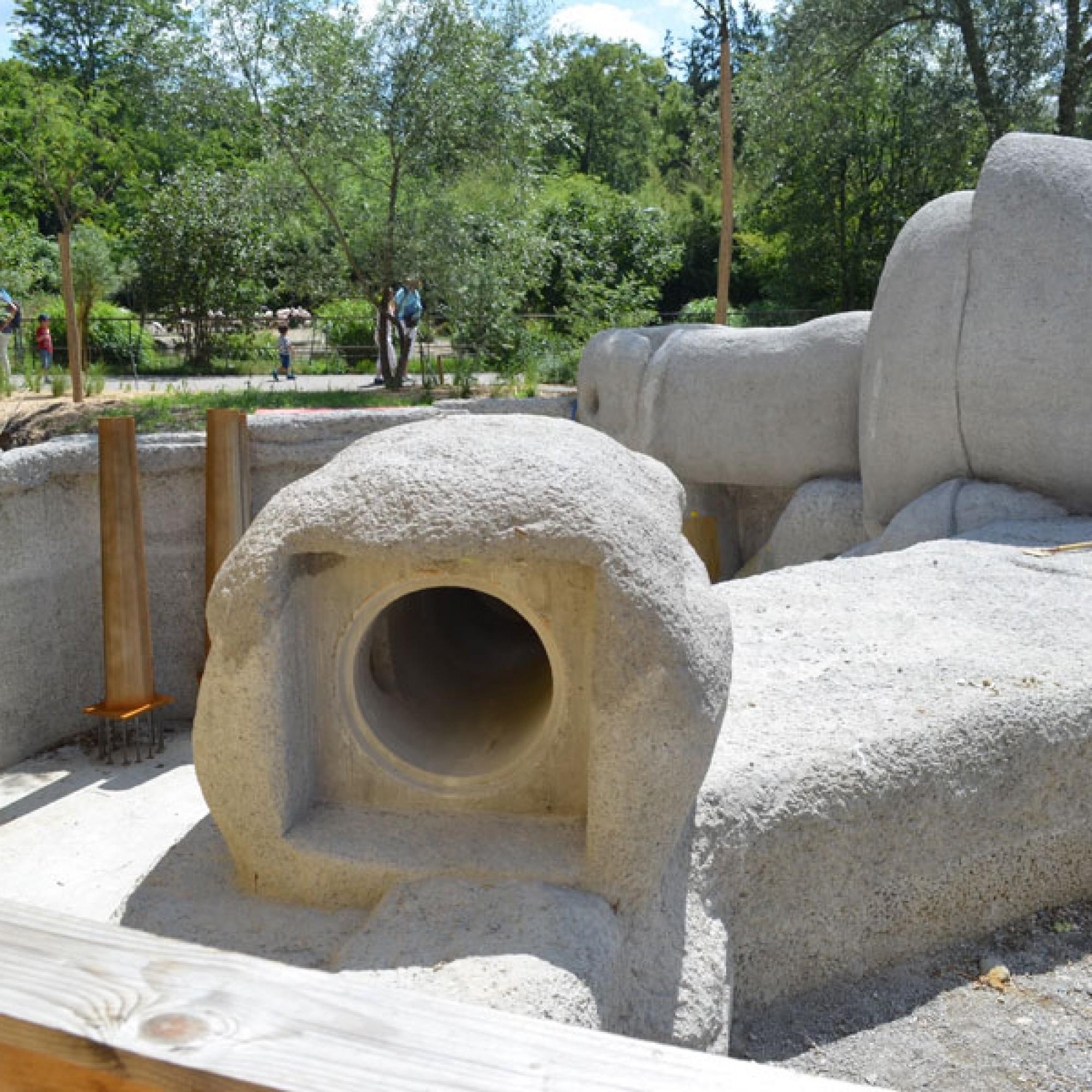 Durch diesen Tunnel können die Geparde in den Elefantenpark schlüpfen (stg)